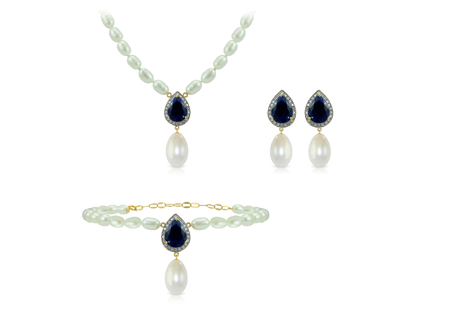 Vera Perla 18K Gold 0.48ct Diamonds, Royal Indian Sapphire and 13mm Pearl 3 pcs set