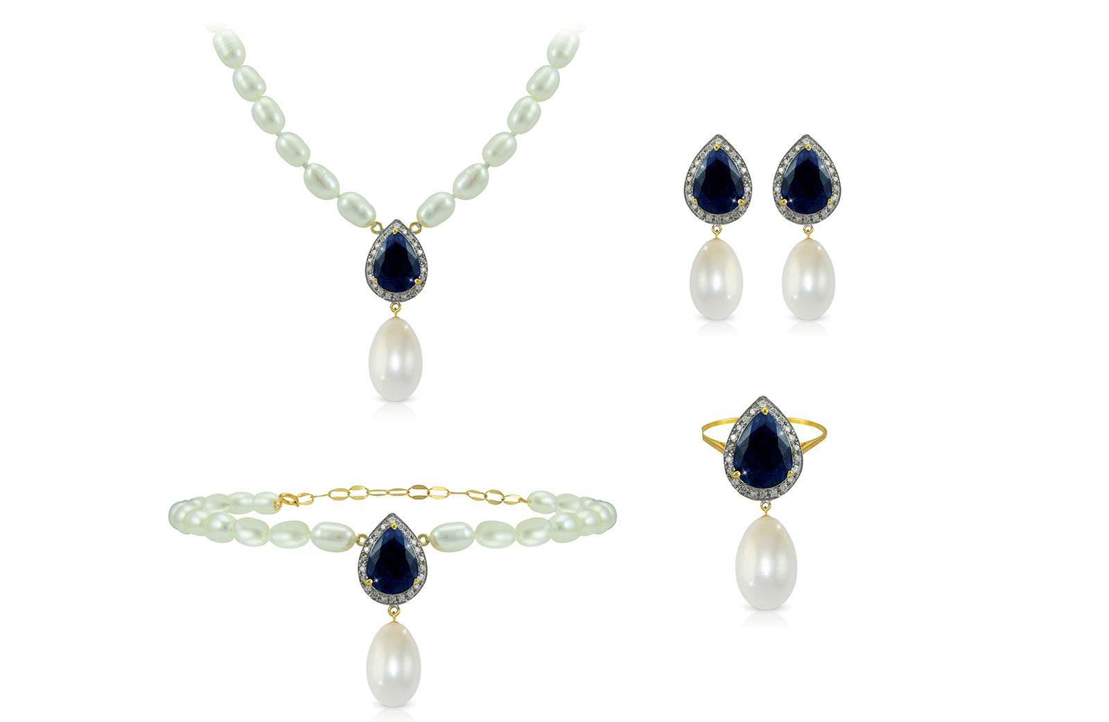 Vera Perla 18K Gold 0.60ct Diamonds, Royal Indian Sapphire and 13mm Pearl 4 pcs set
