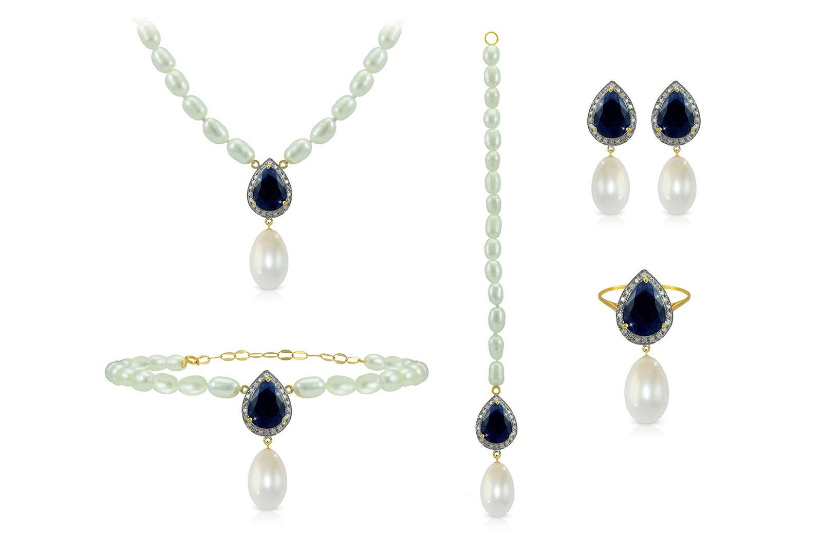 Vera Perla 18K Gold 0.72ct Diamonds, Royal Indian Sapphire and 13mm Pearl  5 pcs set