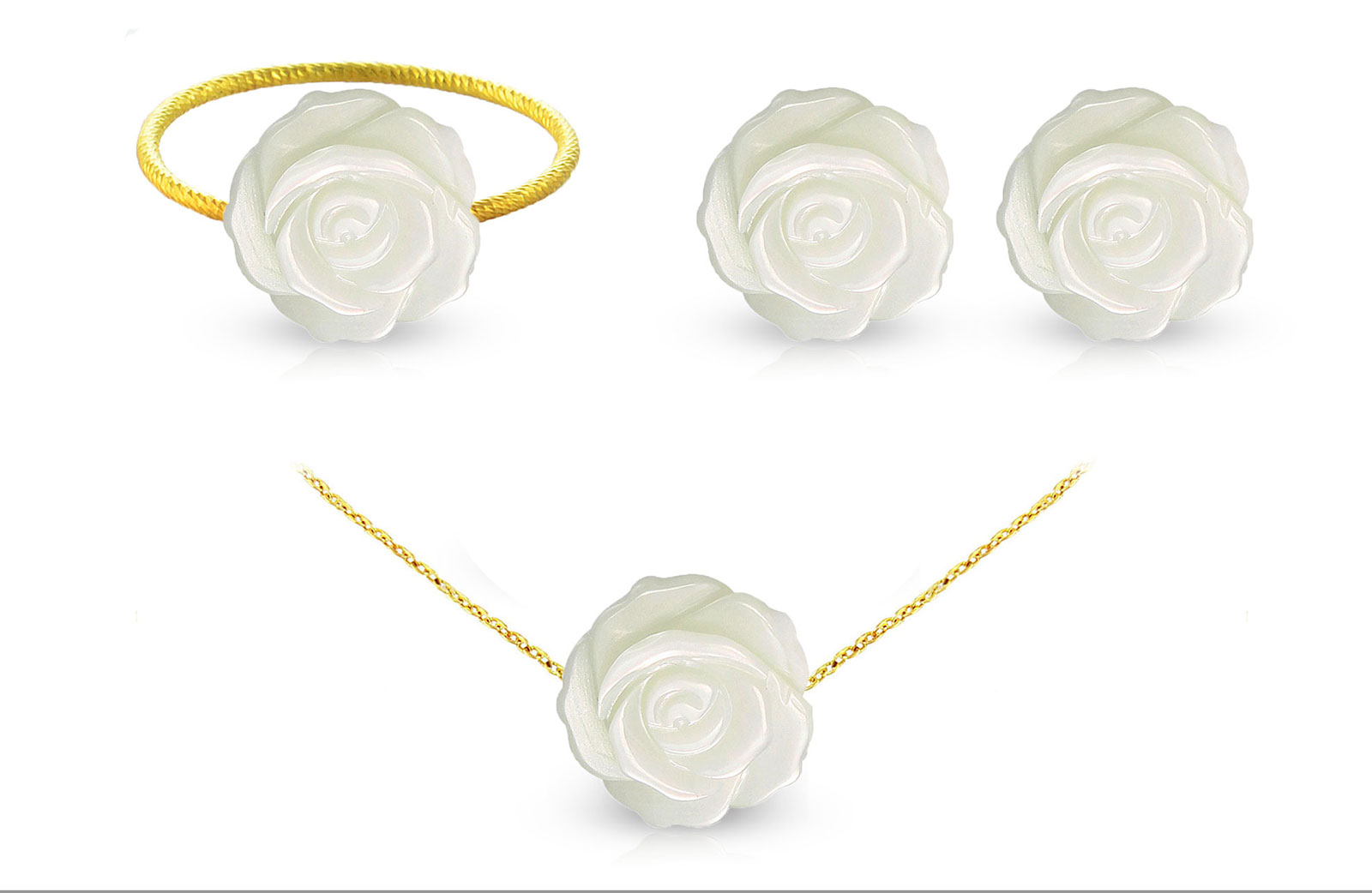 Vera Perla 18k Gold, 12mm Rose Carved Mother of Pearl 3 pcs Jewelry Set