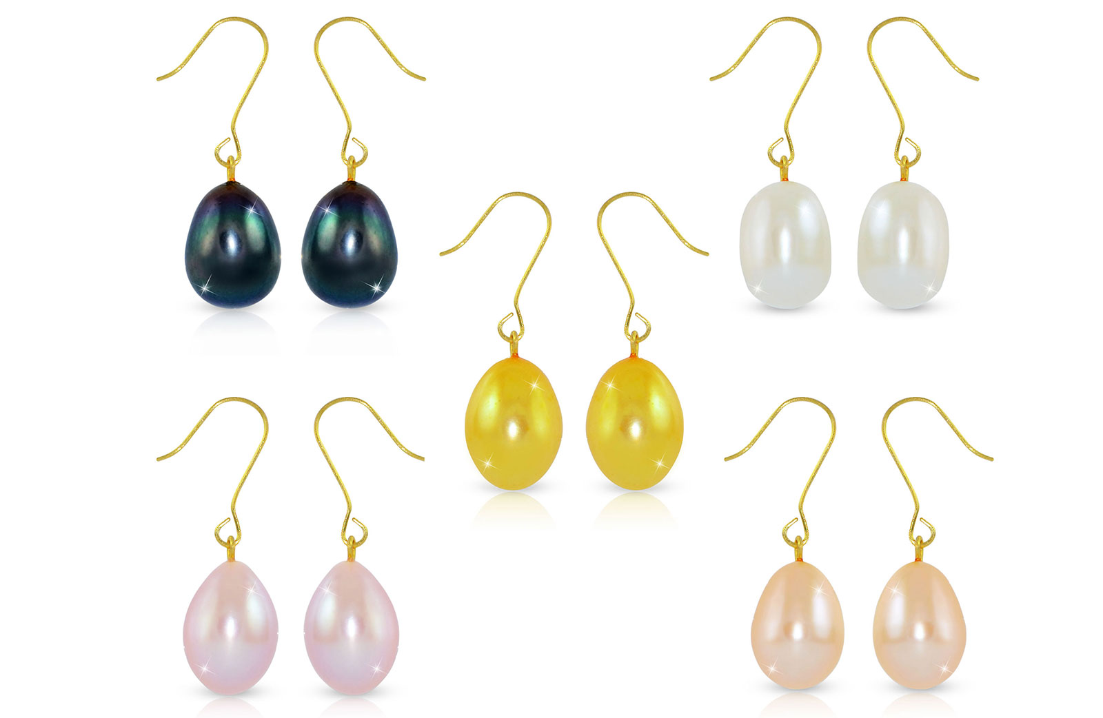 Vera Perla 18K Gold 5 Pairs Multicolor Big Pearls Earrings
