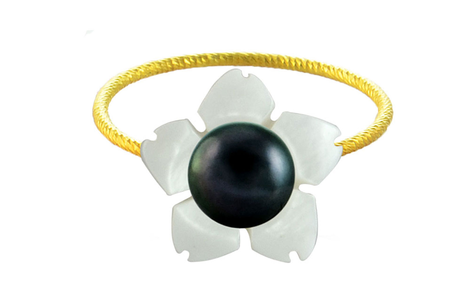 Vera Perla 18k Gold, 7mm Black Pearl Flower Shell Ring