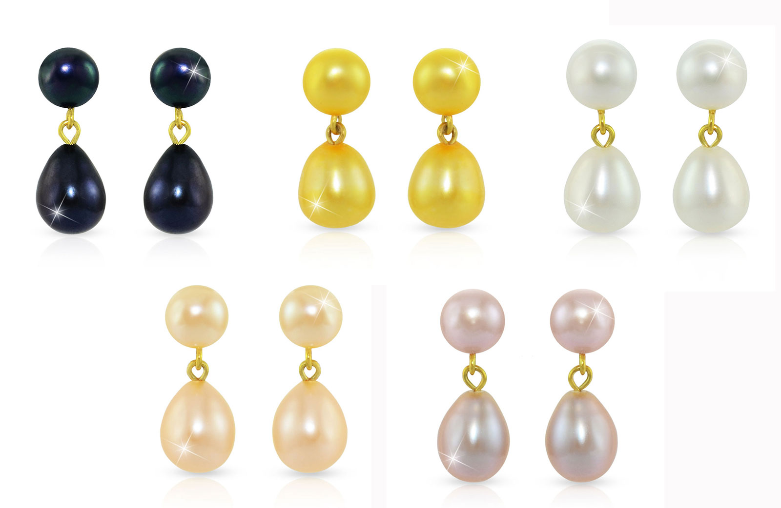 Vera Perla 18K Gold 7mm Genuine Pearls Drop and Dangle 5 Pairs Earrings