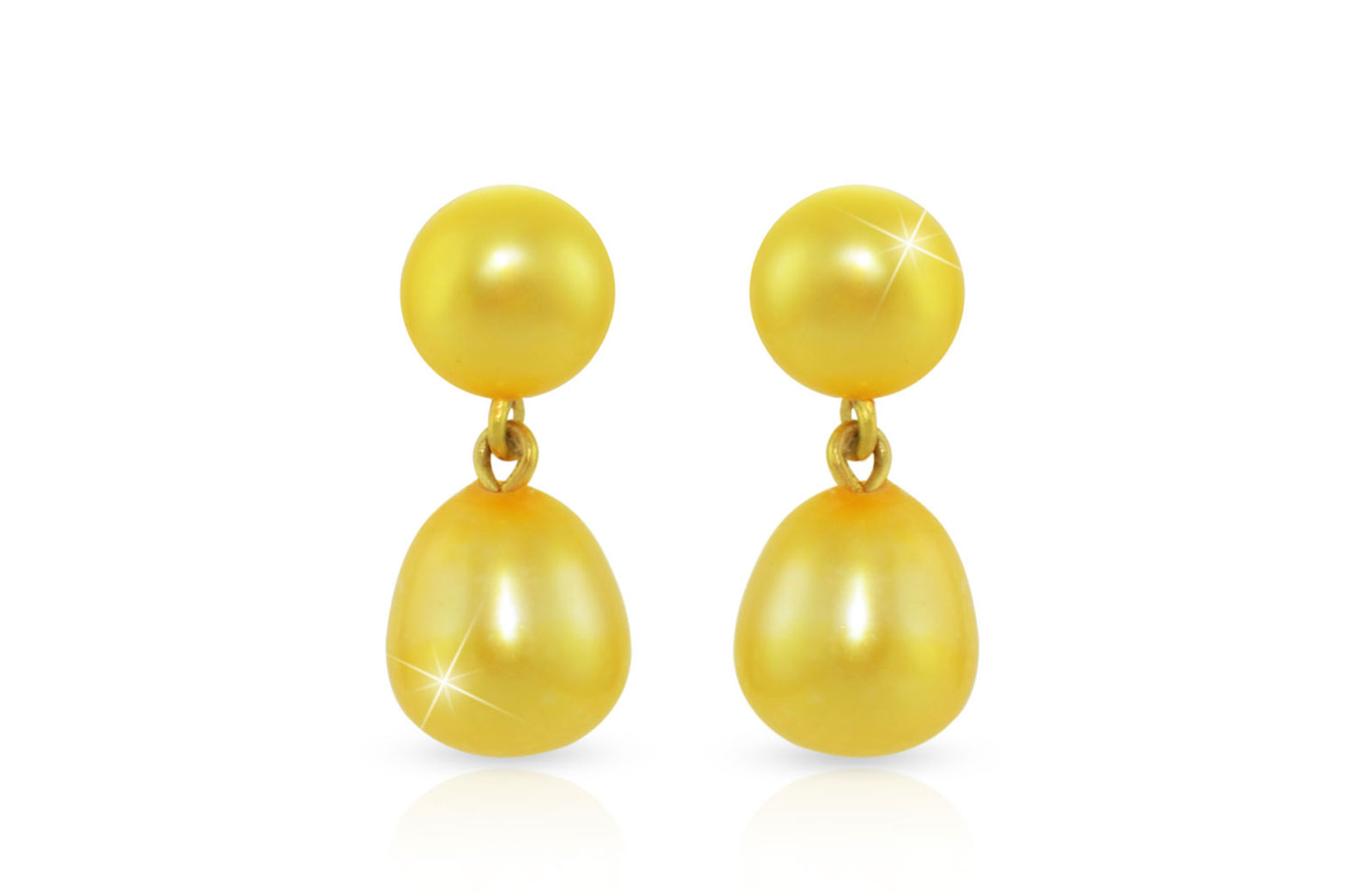 Vera Perla 18K Gold 7mm Genuine Pearls Drop and Dangle Golden Earrings
