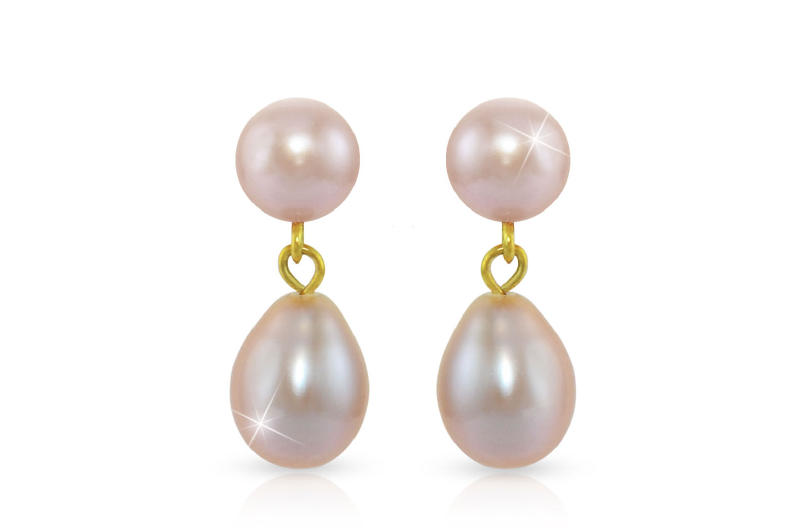 Vera Perla 18K Gold 7mm Genuine Pearls Drop and Dangle Purple Earrings