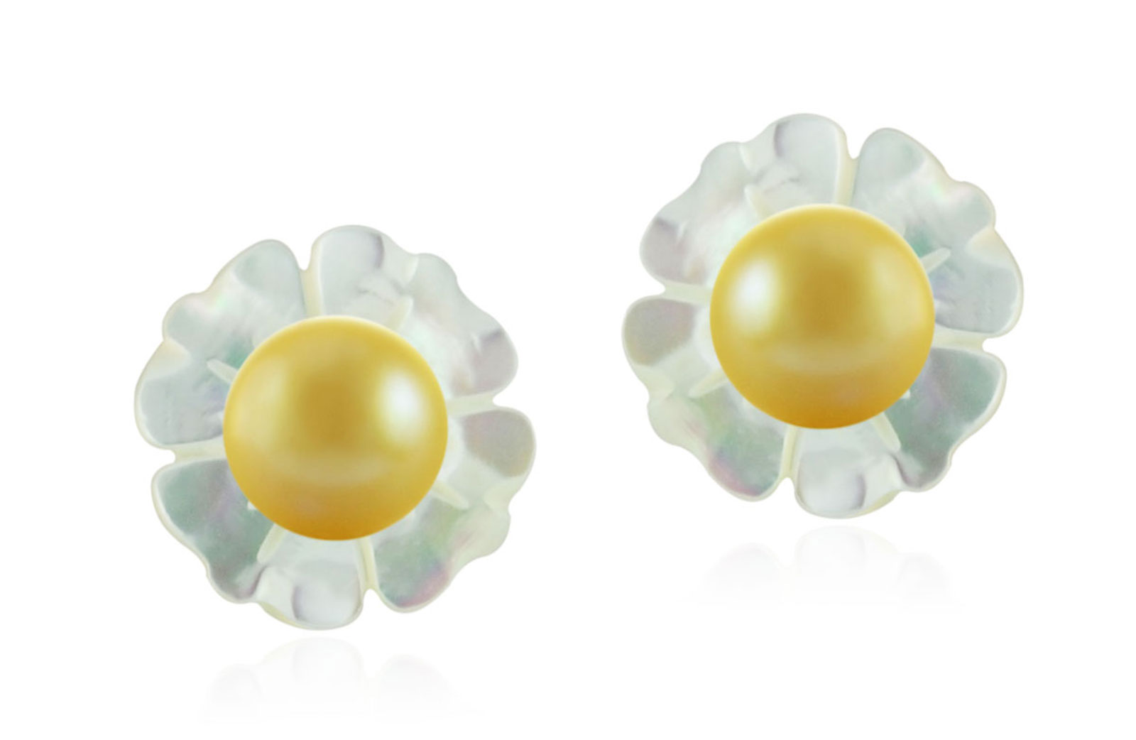 Vera Perla 18k Gold, 7mm Golden Pearl Flower Shell Screw Back Earrings