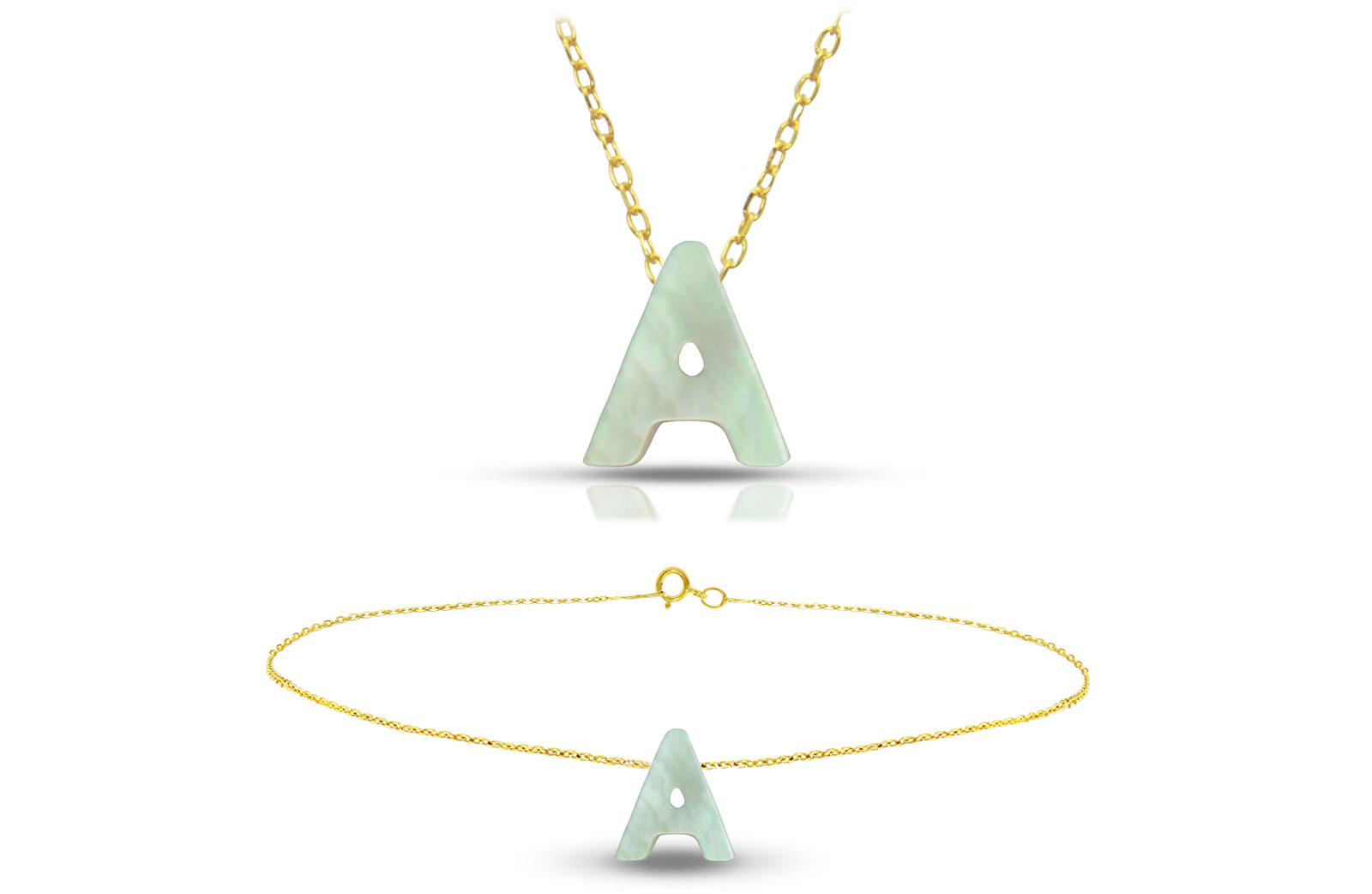 Vera Perla 18K Gold A Letter  Mother of Pearl Jewelry Set, 2 pcs