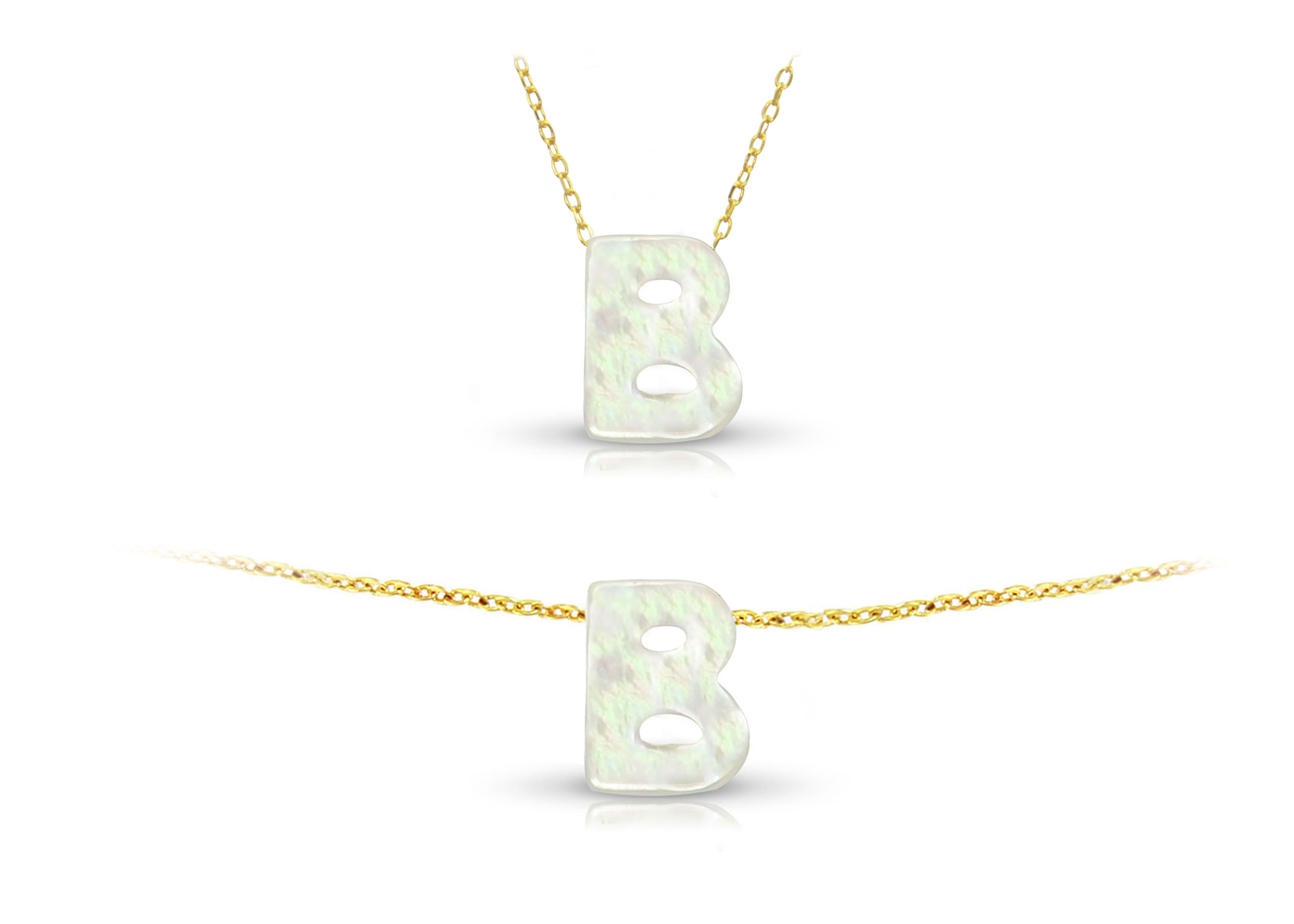 Vera Perla 18K Gold B Letter  Mother of Pearl Jewelry Set