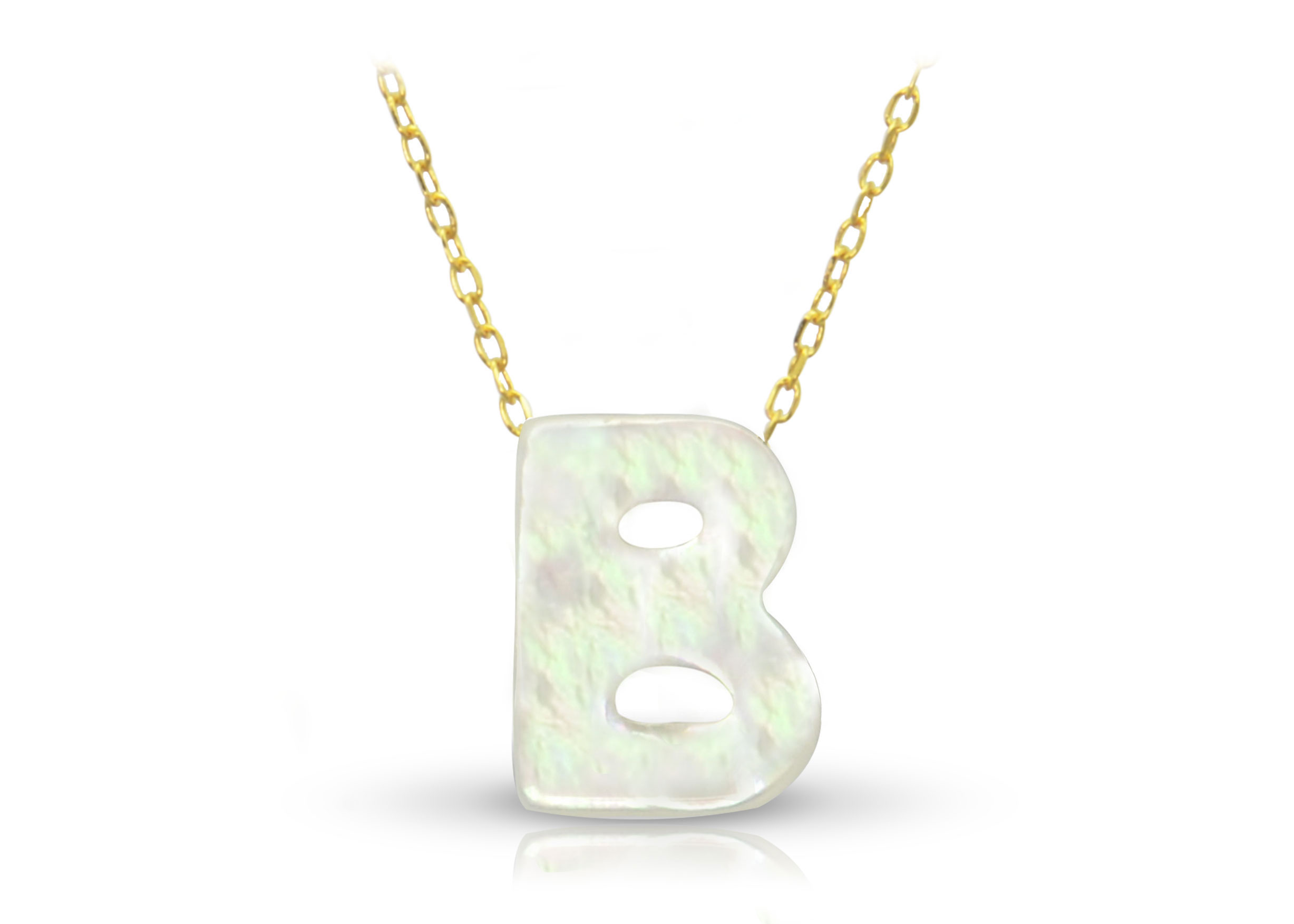 Vera Perla 18K Gold B Letter  Mother of Pearl Necklace