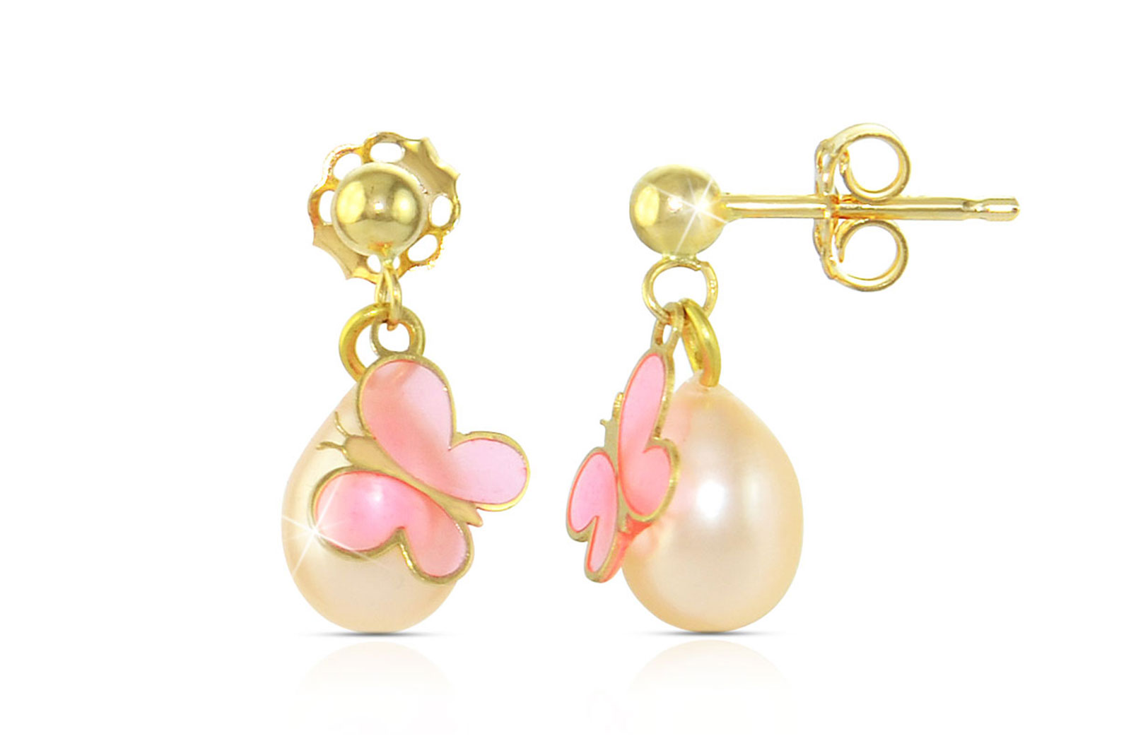 Vera Perla 18K Gold Butterflies and Genuine  7mm Pink Pearl  Earrings
