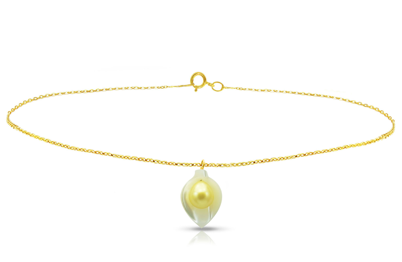 Vera Perla 18K Gold Calla Lily Mother of Pearl with 7mm Golden Pearl Bracelet