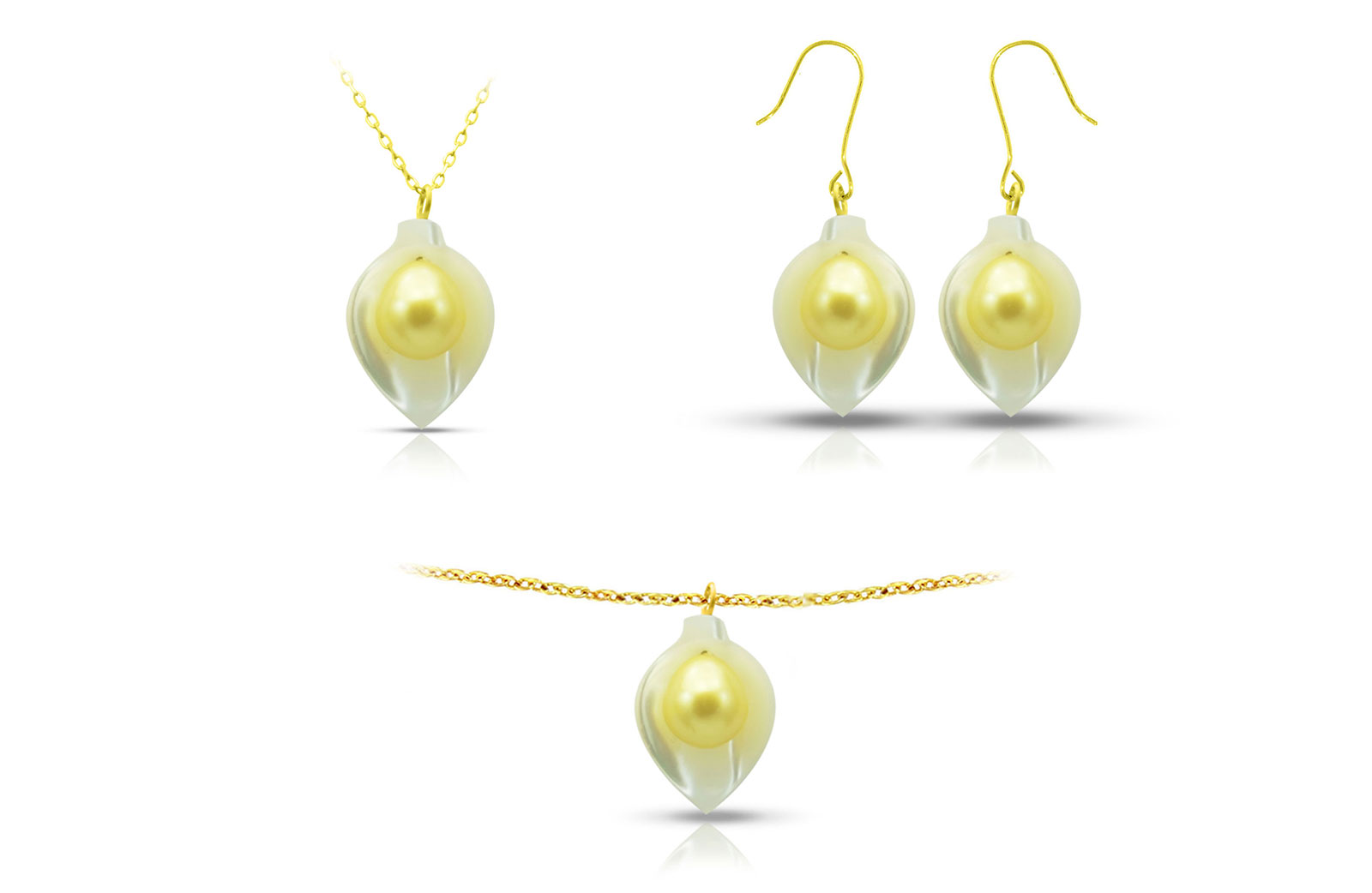 Vera Perla 18K Gold Calla Lily Mother of Pearl with 7mm Golden Pearl Jewelry Set - 3 pcs.