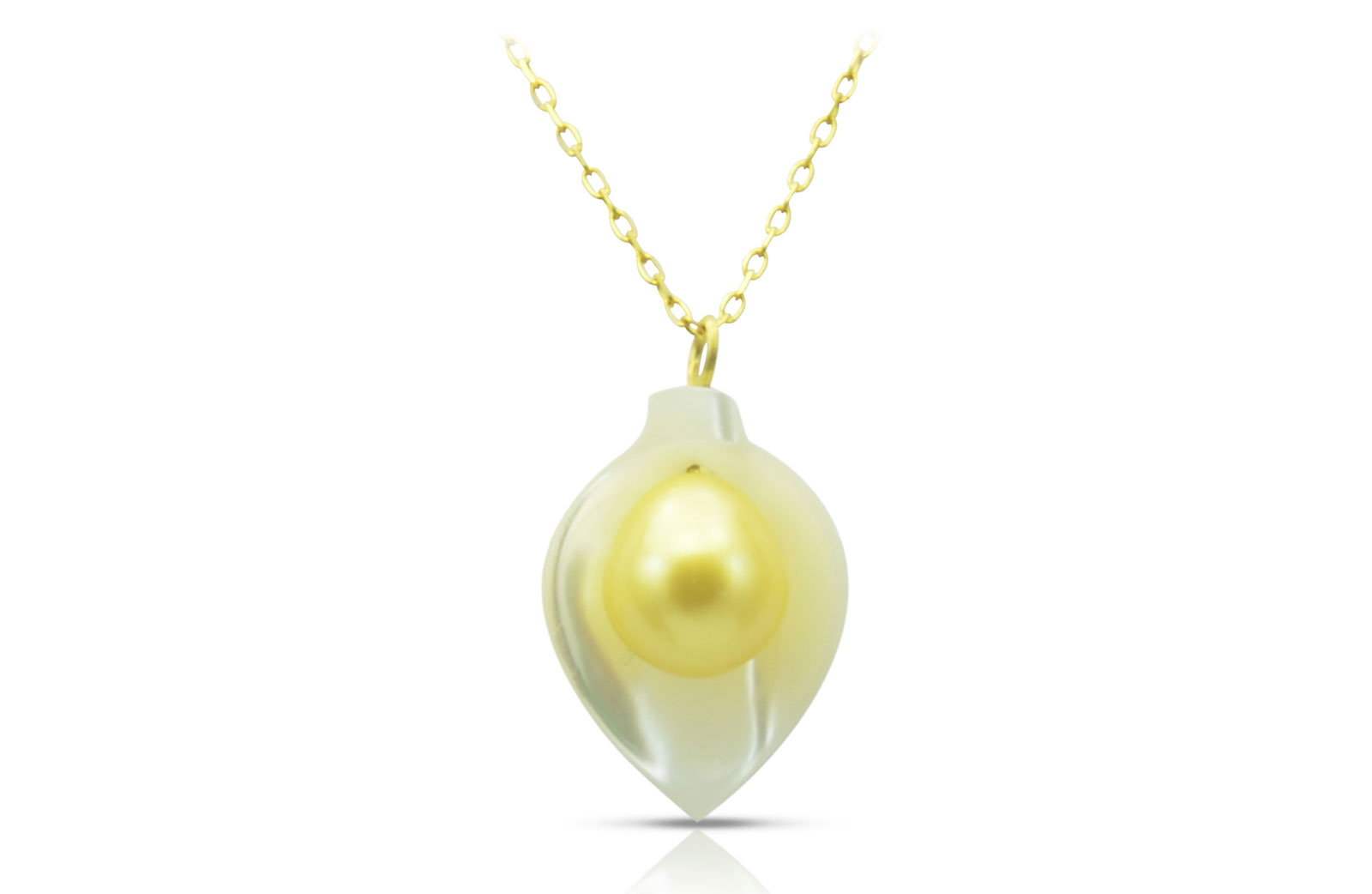 Vera Perla 18K Gold Calla Lily Mother of Pearl with 7mm Golden Pearl Necklace