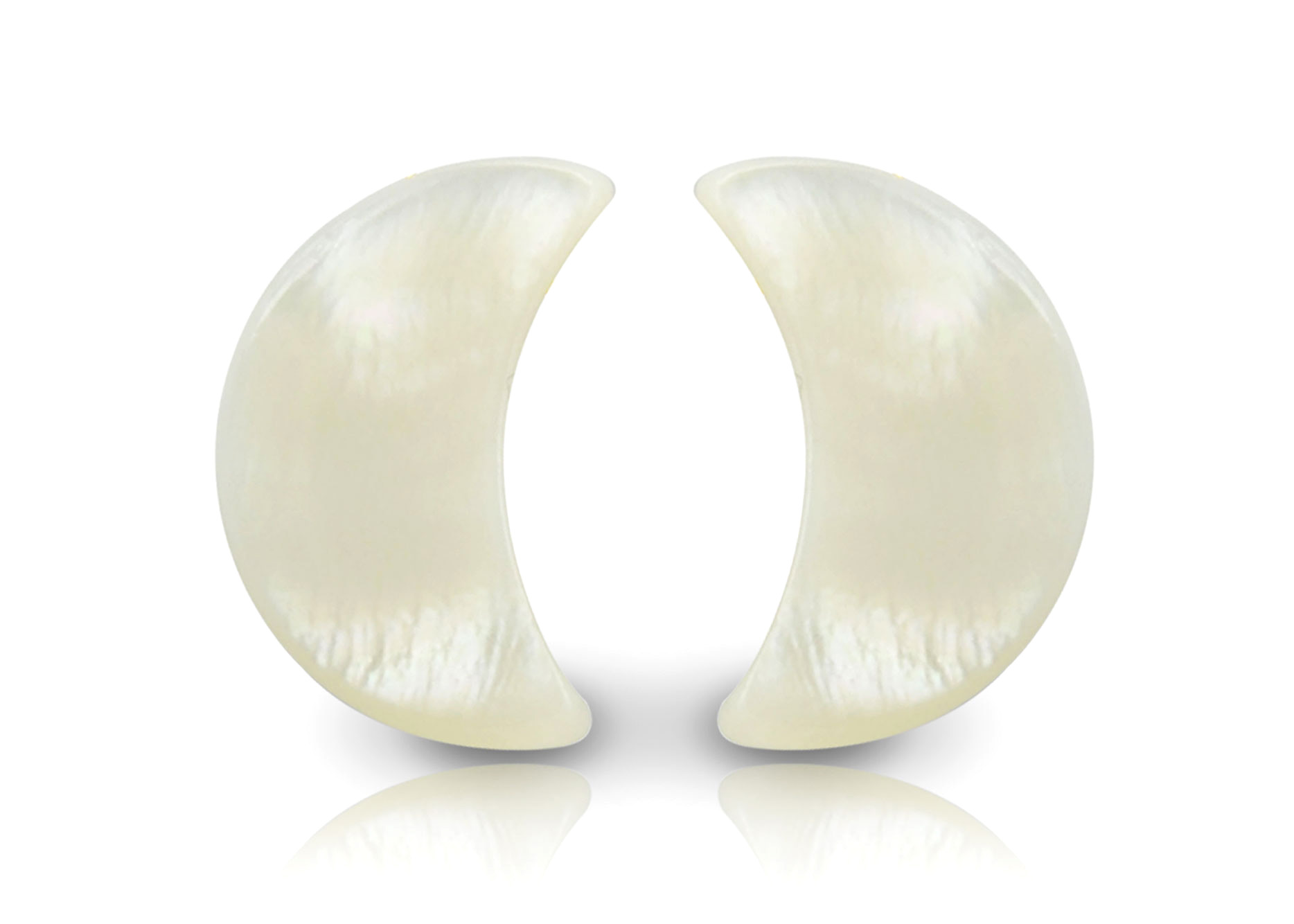 Vera Perla 18K Gold Crescent Shape Mother of Pearl Earrings