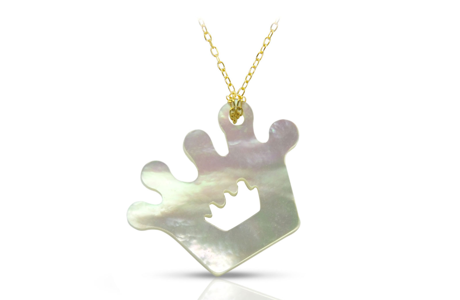 Vera Perla 18K Gold Crown Mother of Pearl Necklace