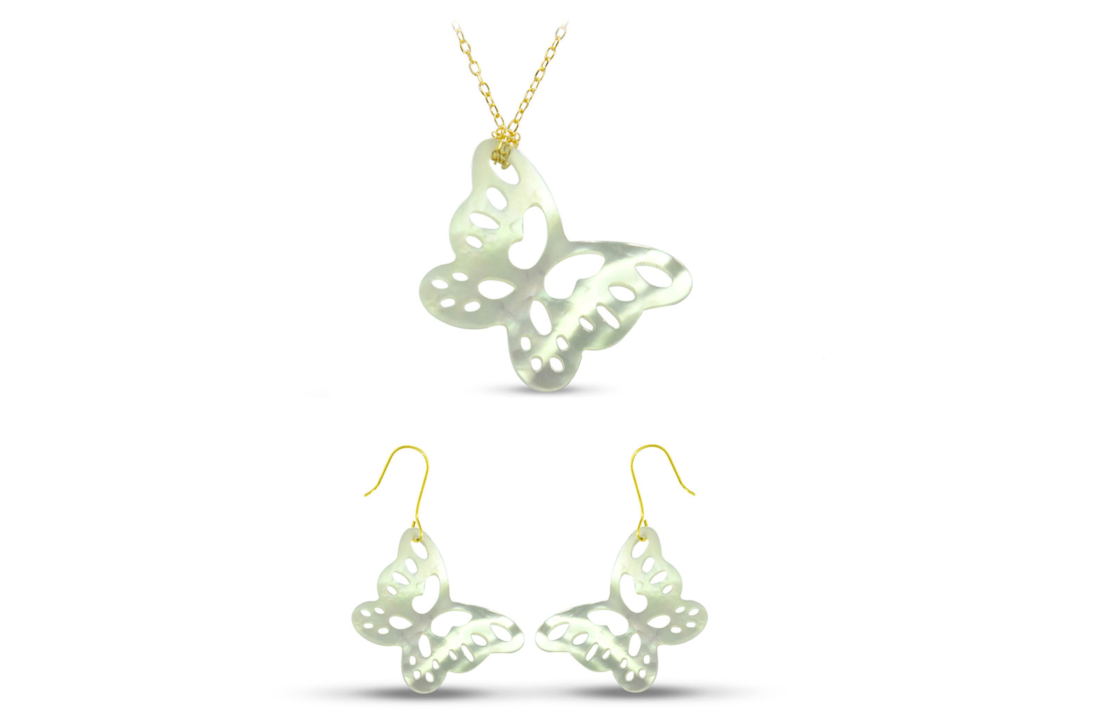 Vera Perla 18K Gold Cute Butterfly Mother of Pearl Jewelry Set, 2 pcs