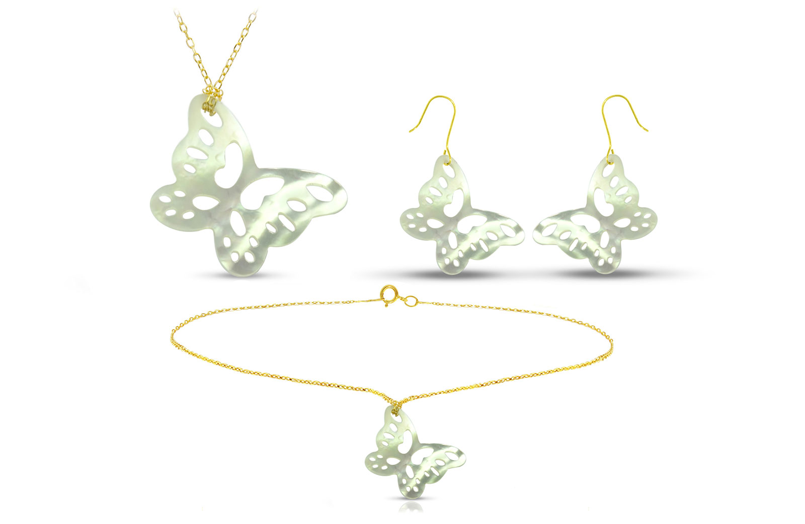 Vera Perla 18K Gold Cute Butterfly Mother of Pearl Jewelry Set, 3 pcs