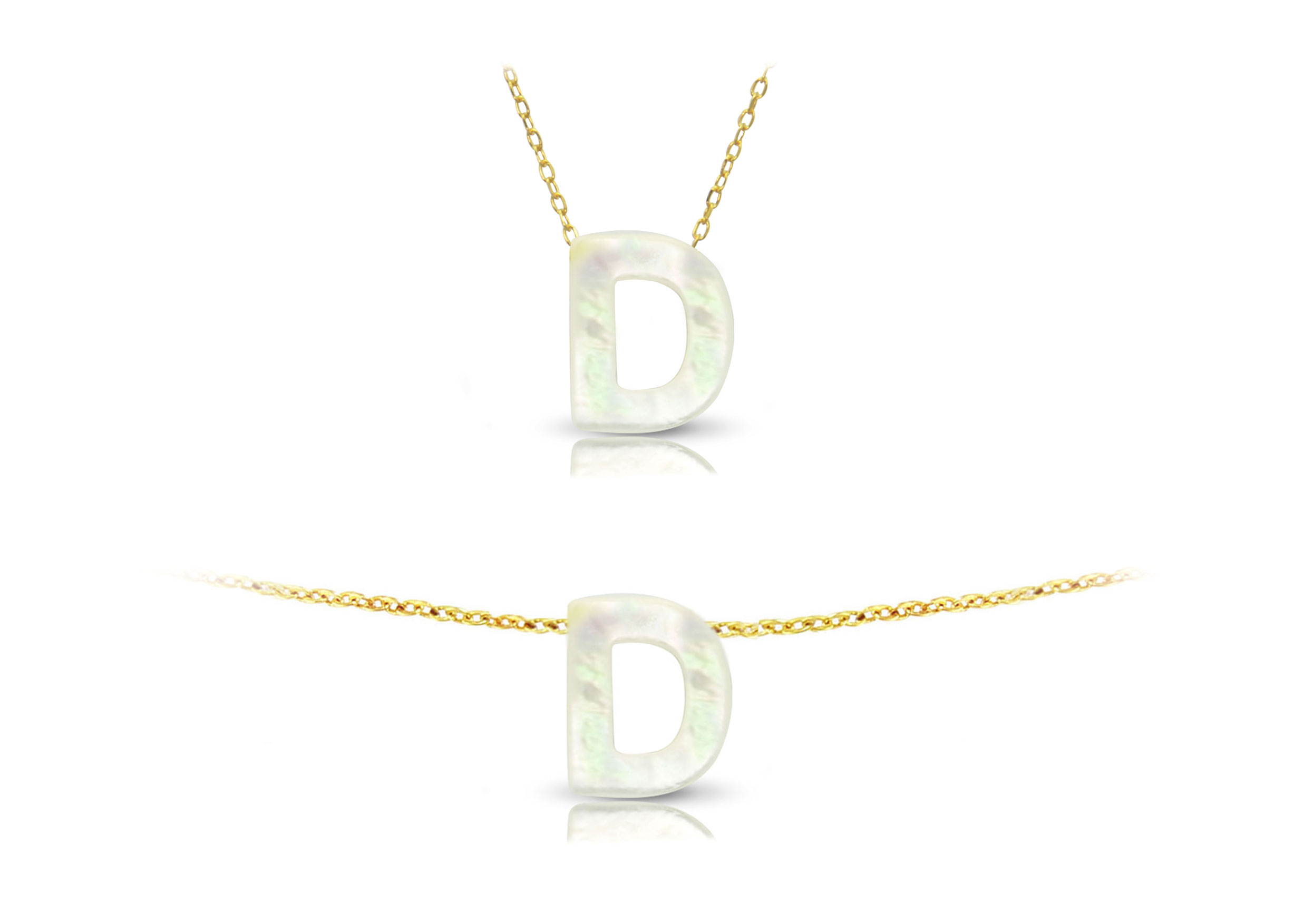 Vera Perla 18K Gold D Letter  Mother of Pearl Jewelry Set