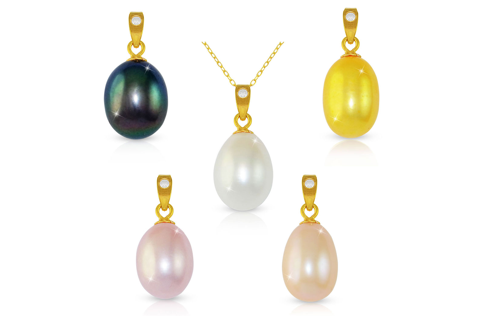 Vera Perla 18K Gold Diamond Pearl Pendants with 18K Gold Chain