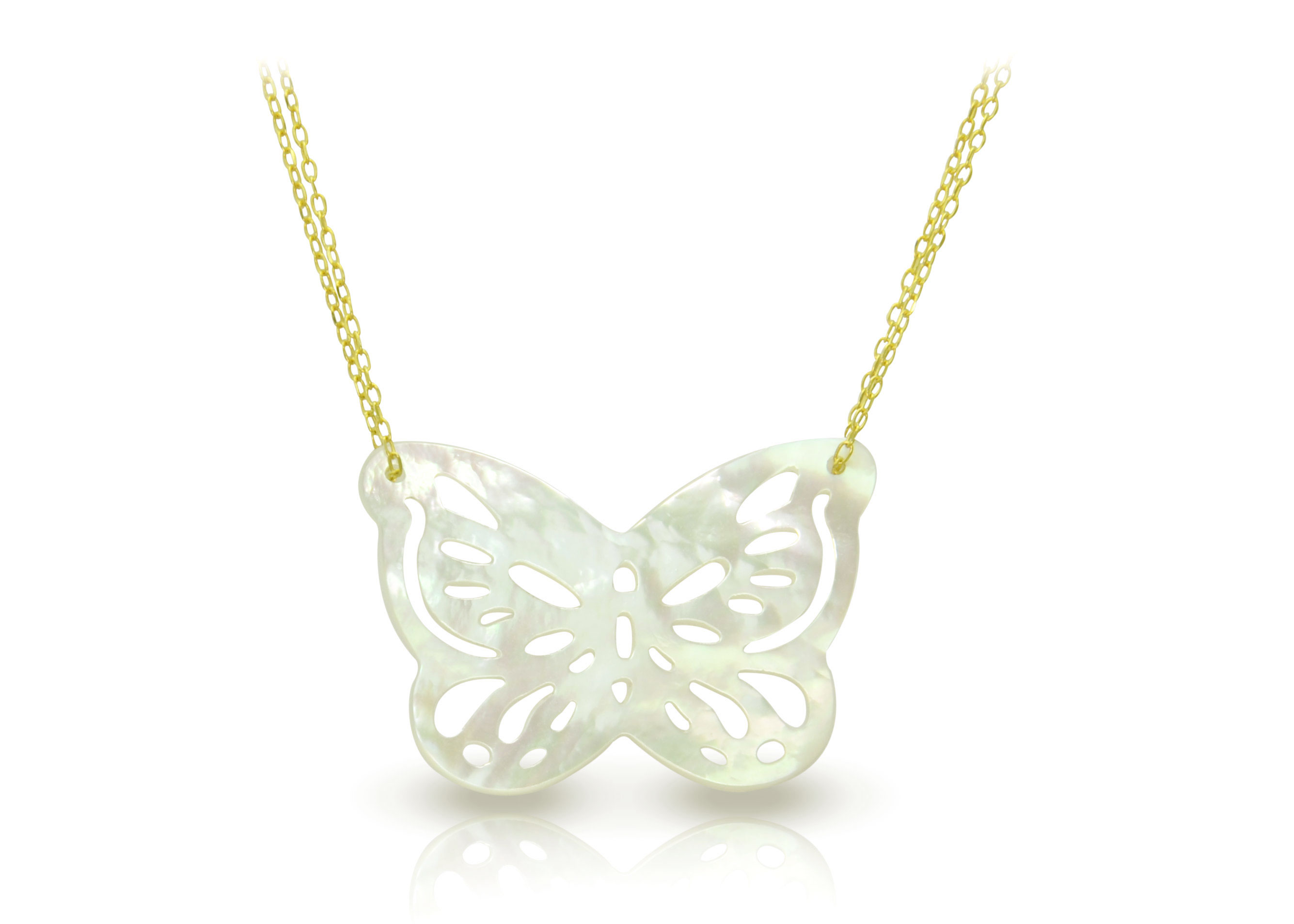 Vera Perla 18K Gold Double Link Butterfly Shape Mother of Pearl Necklace