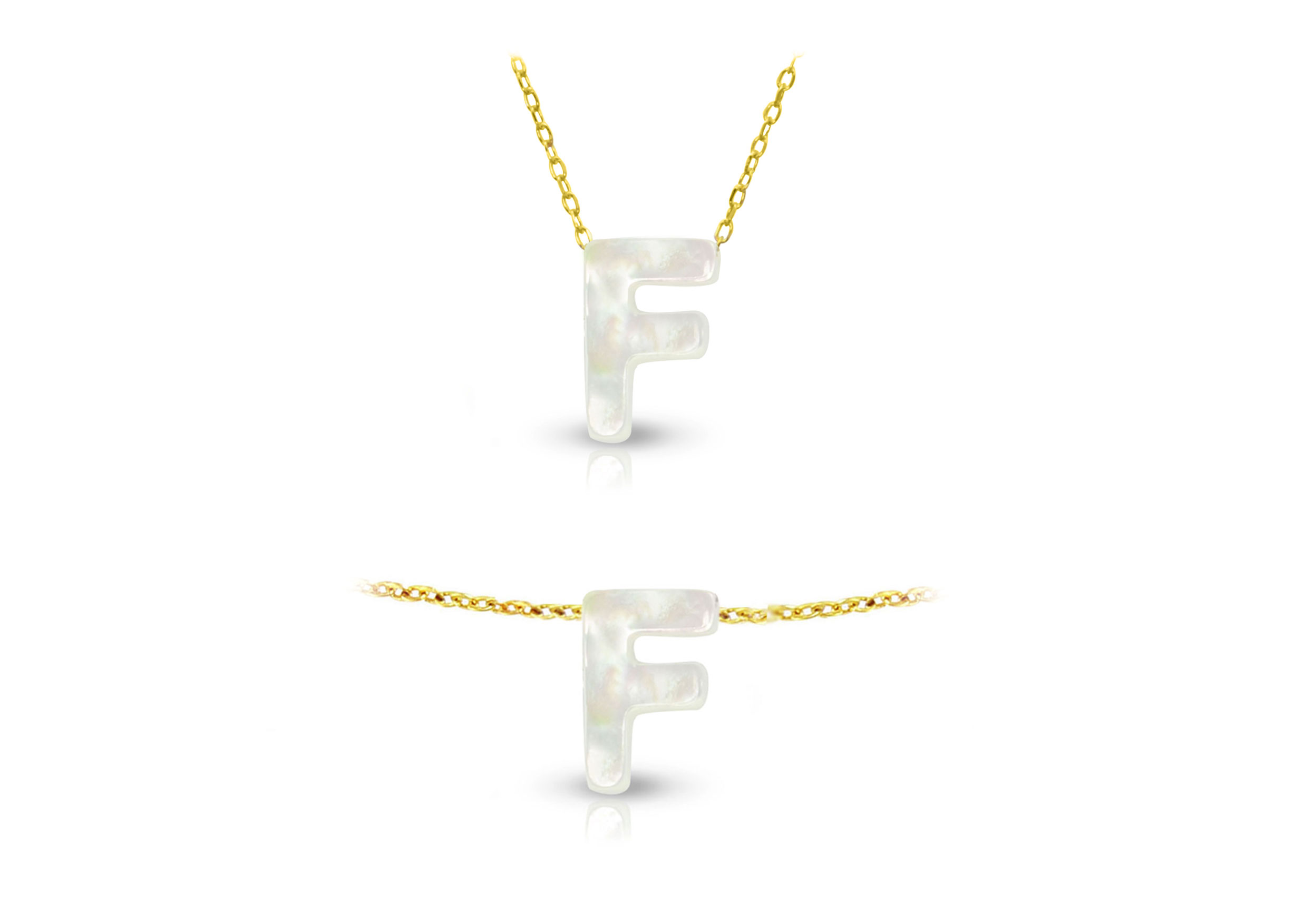 Vera Perla 18K Gold F Letter  Mother of Pearl Jewelry Set