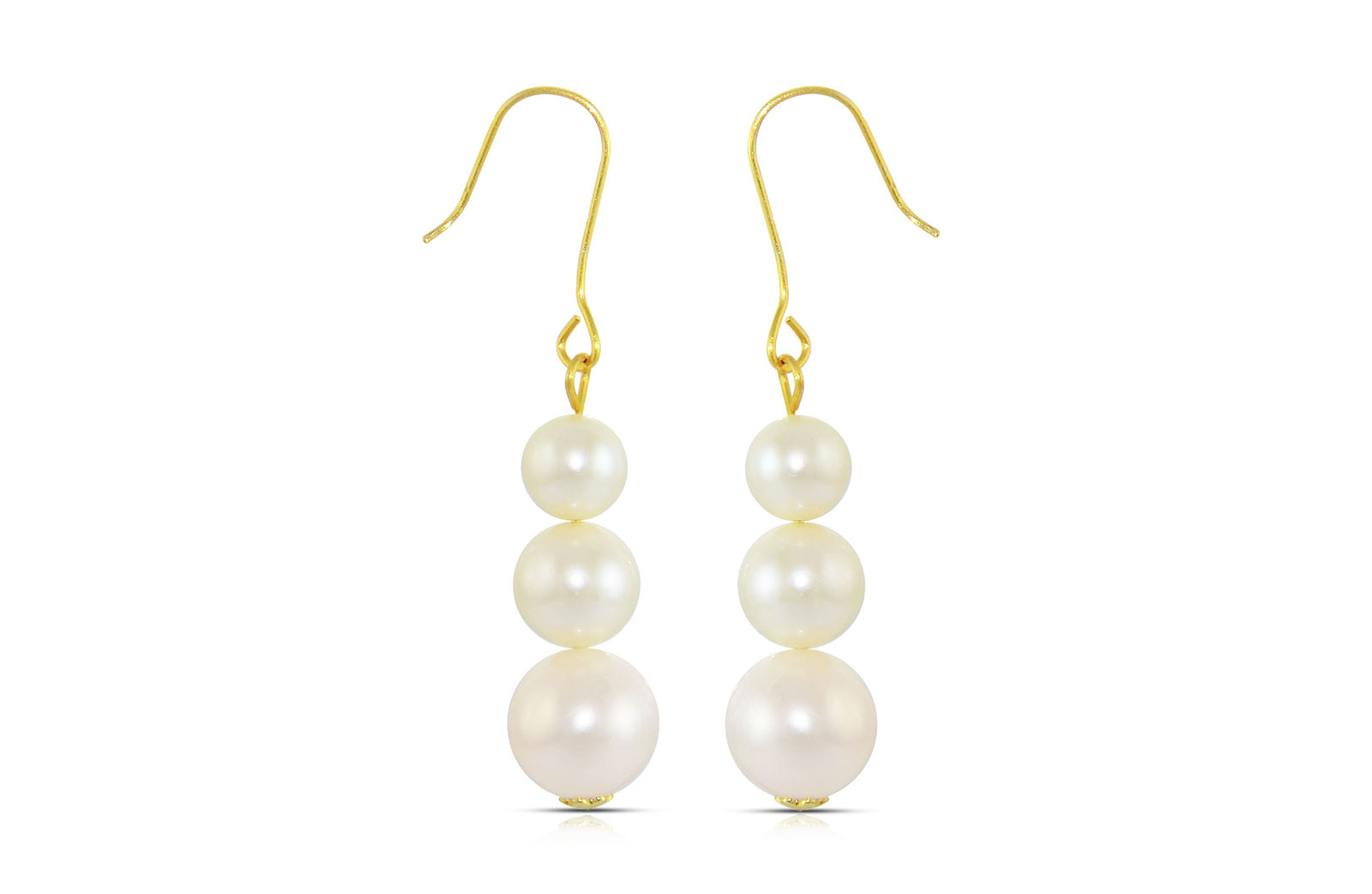 Vera Perla 18K Gold Genuine Pearls Journey Earrings