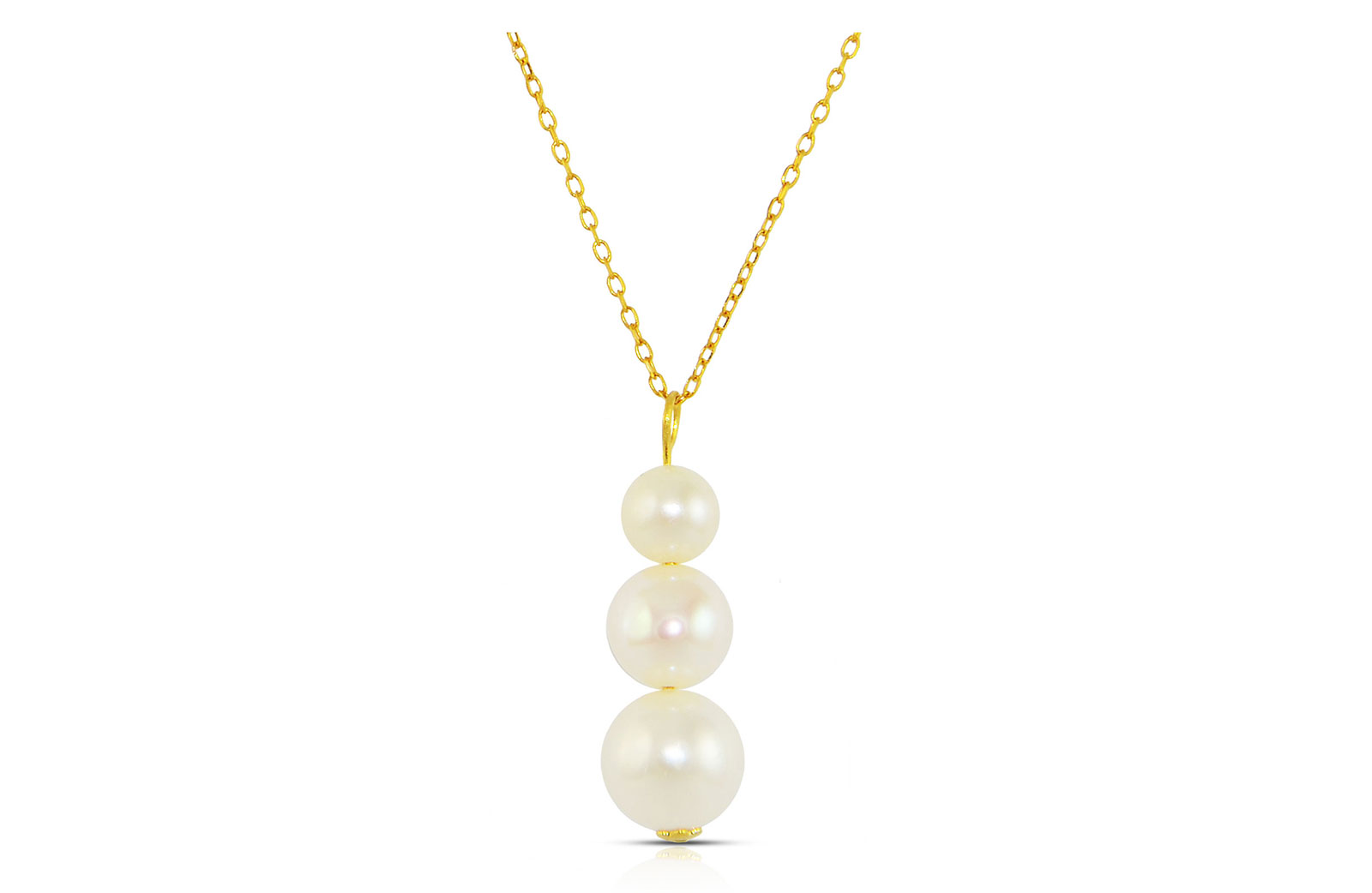 Vera Perla 18K Gold Genuine Pearls Journey Necklace