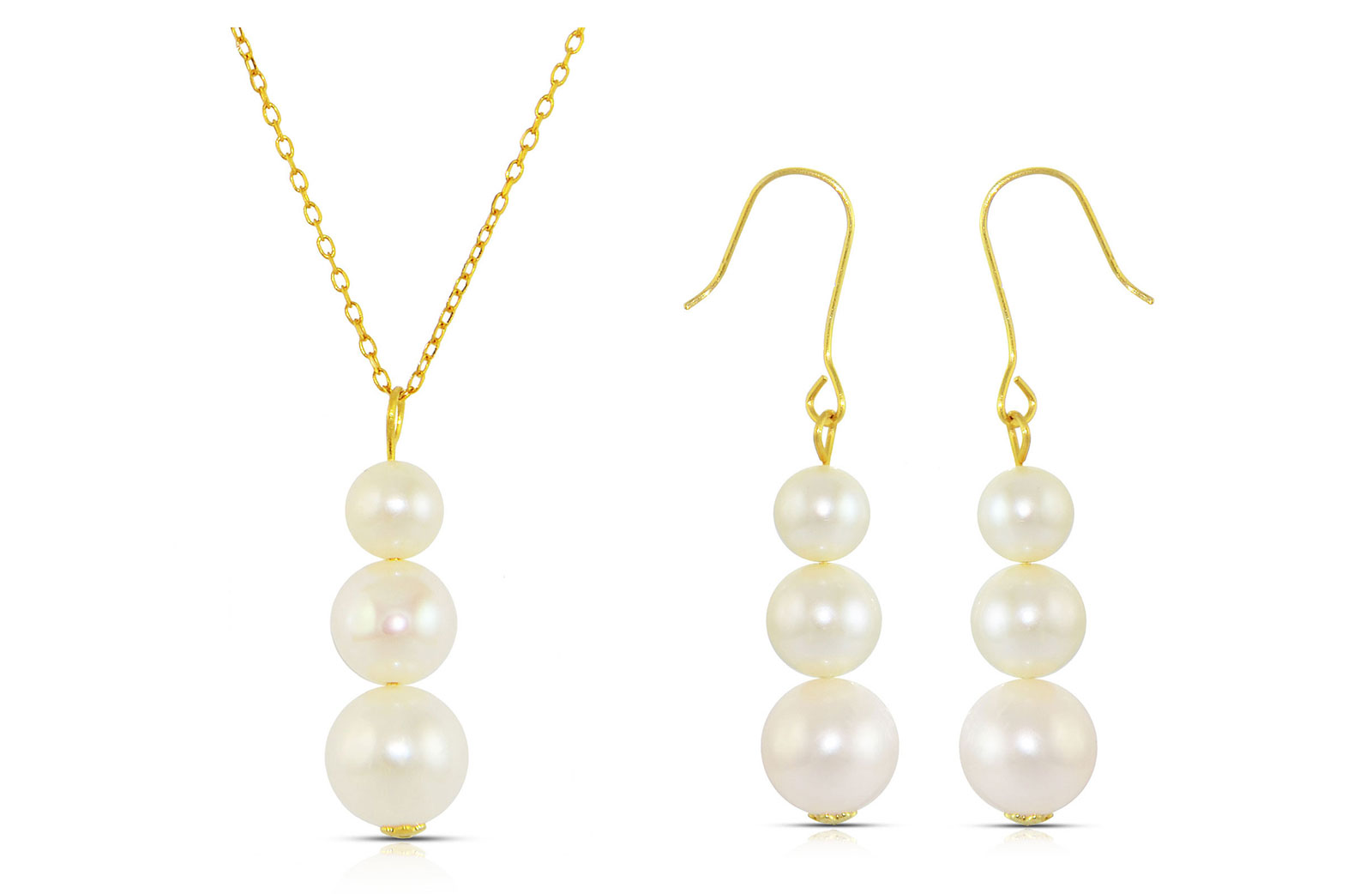 Vera Perla 18K Gold Genuine Pearls Journey Necklace and Earrings