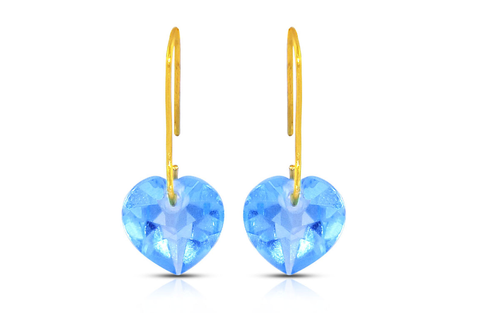 Vera Perla 18K Gold Genuine Swiss Blue Topaz 7mm Heart Earrings