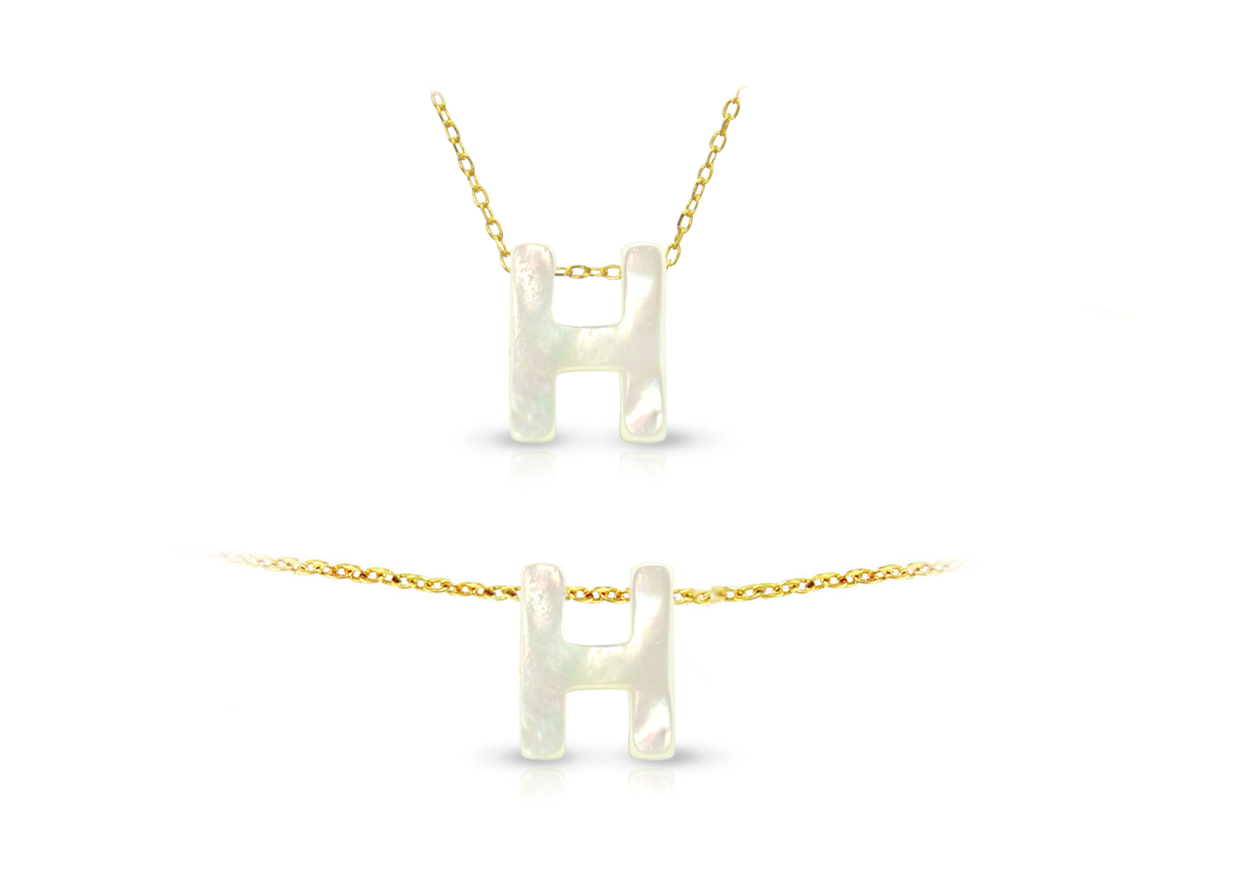 Vera Perla 18K Gold H Letter  Mother of Pearl Jewelry Set