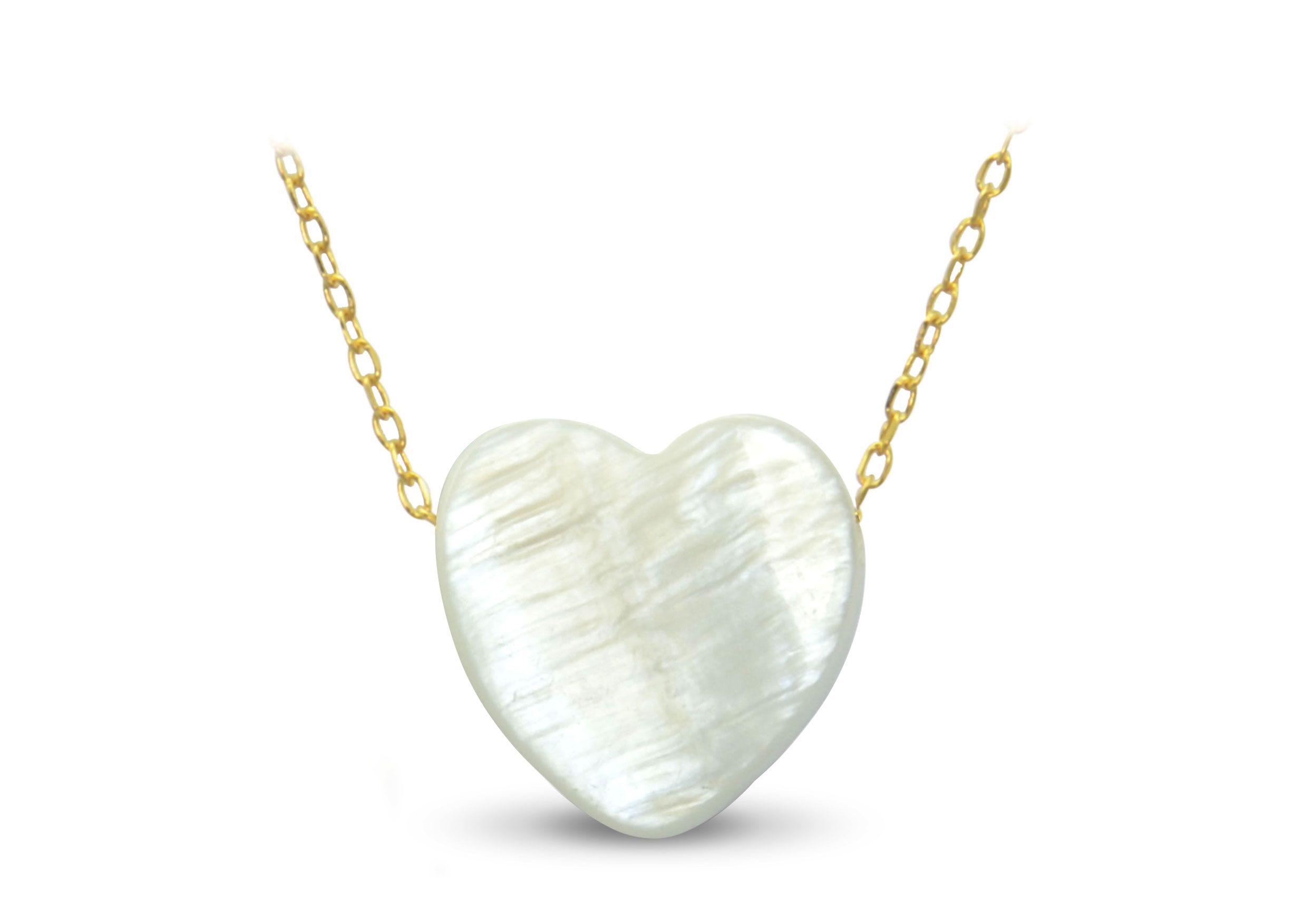 Vera Perla 18K Gold Heart Shape Mother of Pearl Necklace