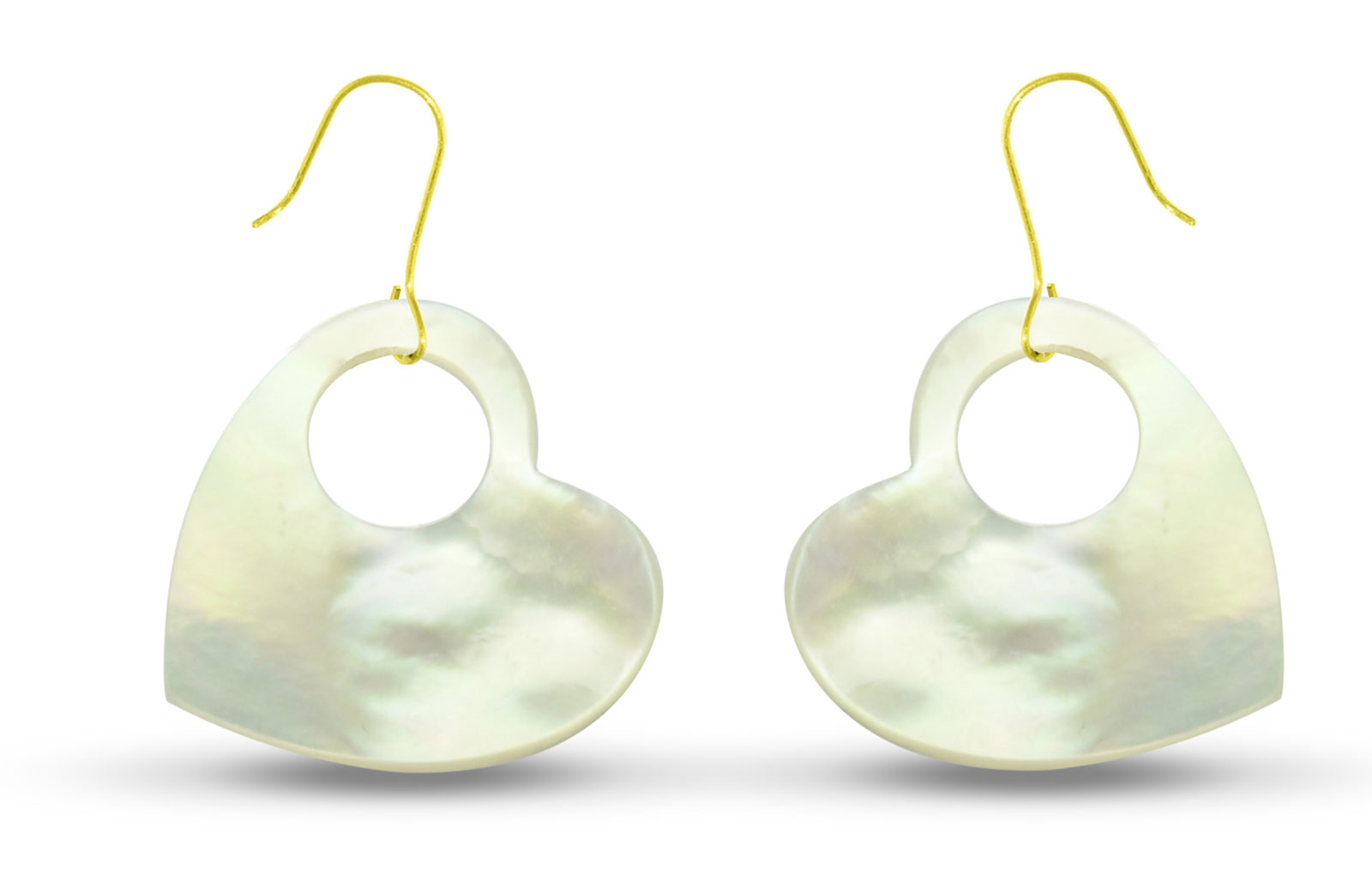 Vera Perla 18K Gold Heart with Hole Mother of Pearl Earrings