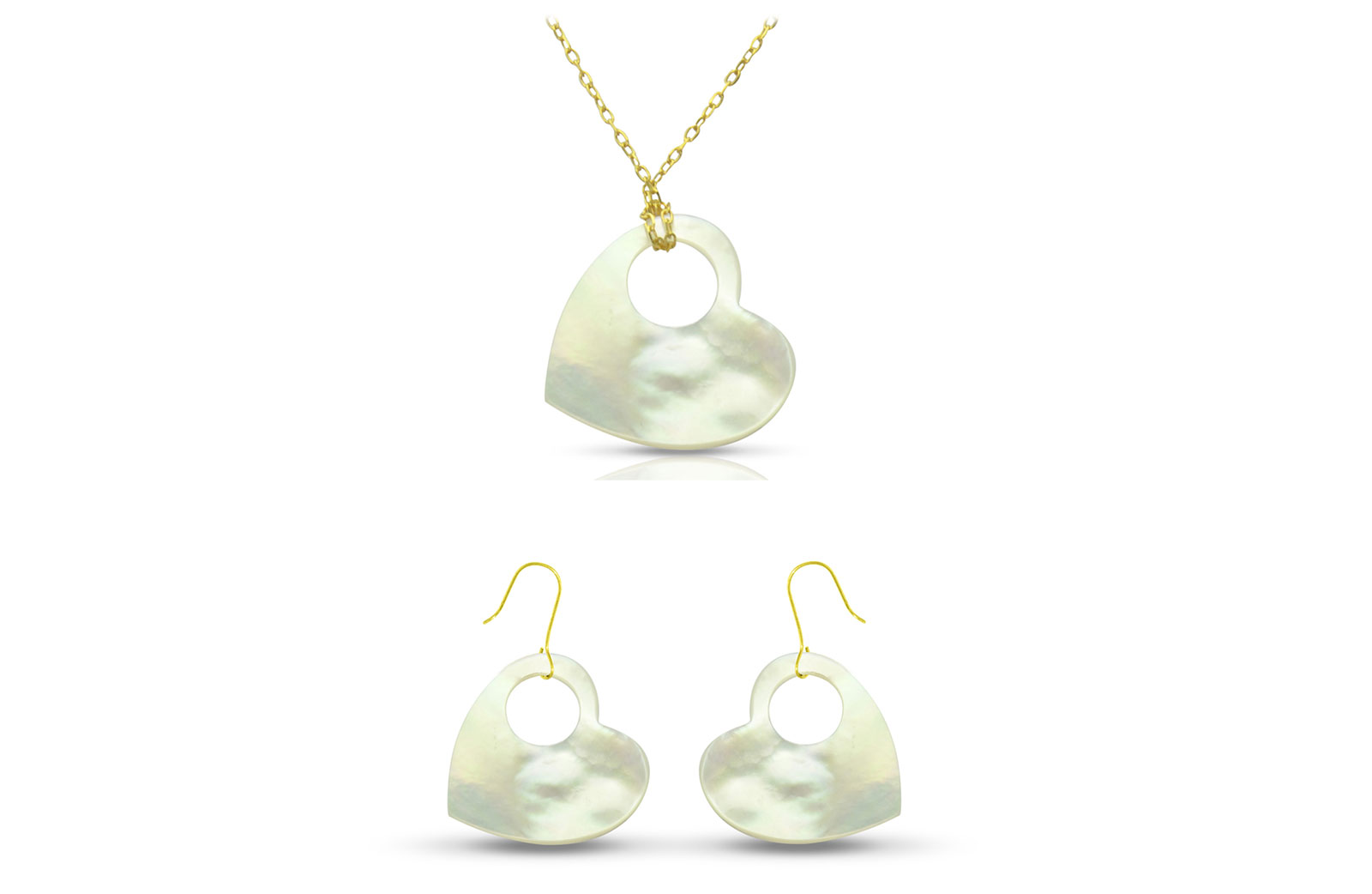 Vera Perla 18K Gold Heart with Hole Mother of Pearl Jewelry Set, 2 pcs