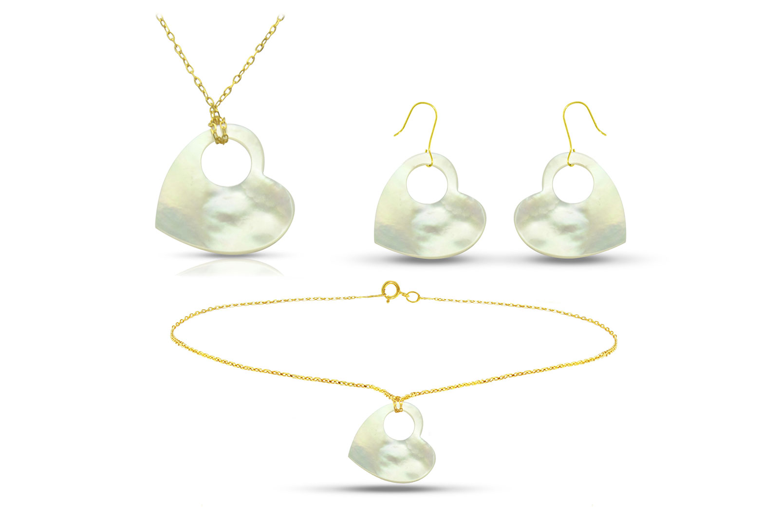 Vera Perla 18K Gold Heart with Hole Mother of Pearl Jewelry Set, 3 pcs