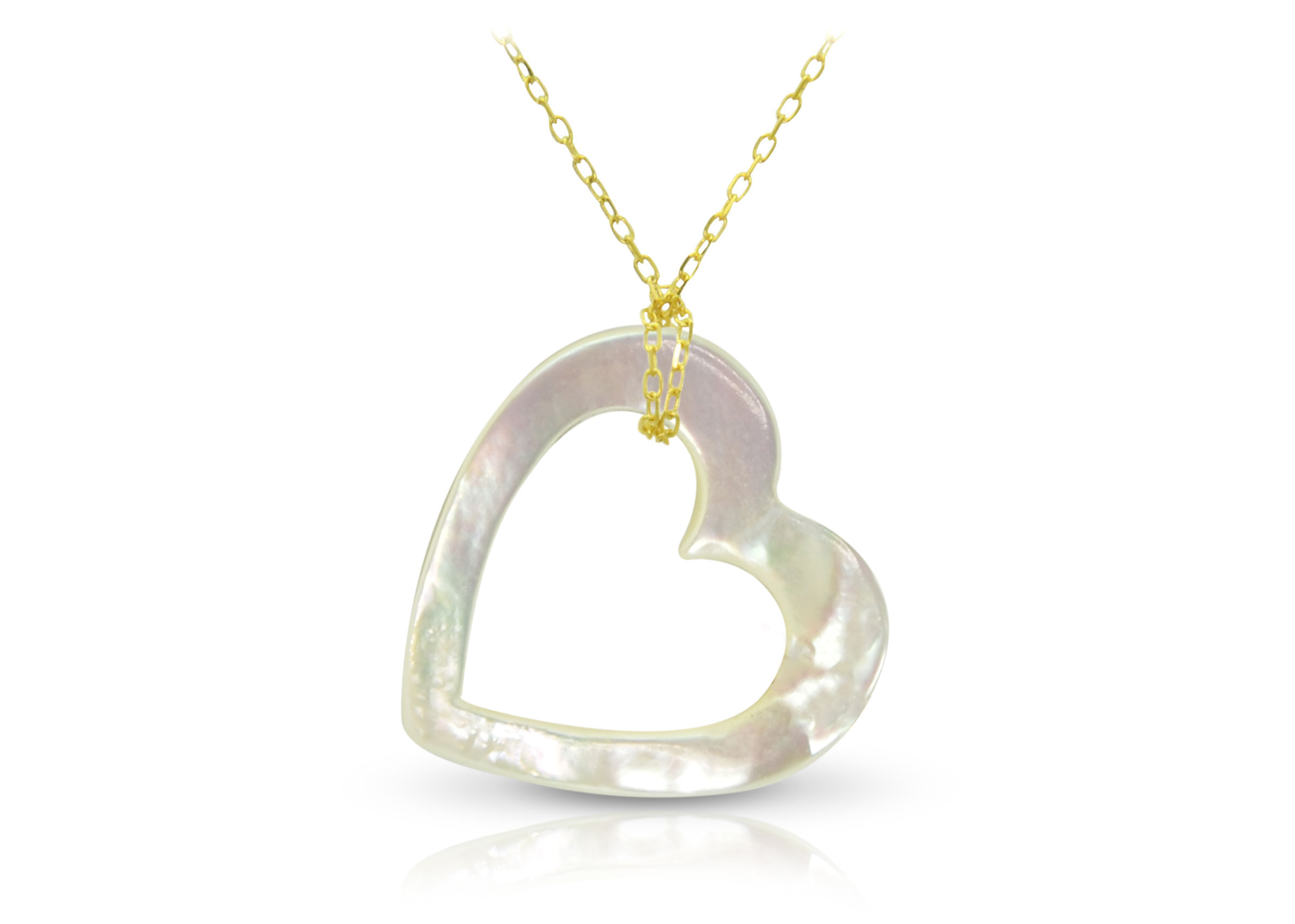 Vera Perla 18K Gold Hollow Heart Mother of Pearl Necklace