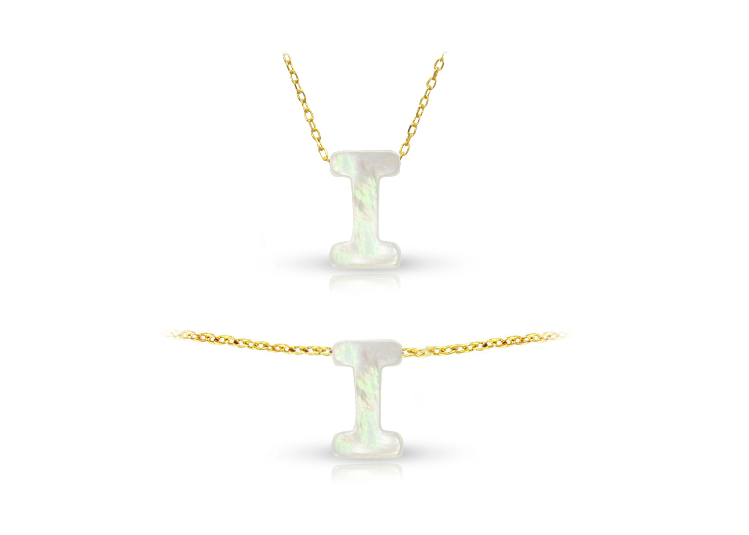 Vera Perla 18K Gold I Letter  Mother of Pearl Jewelry Set