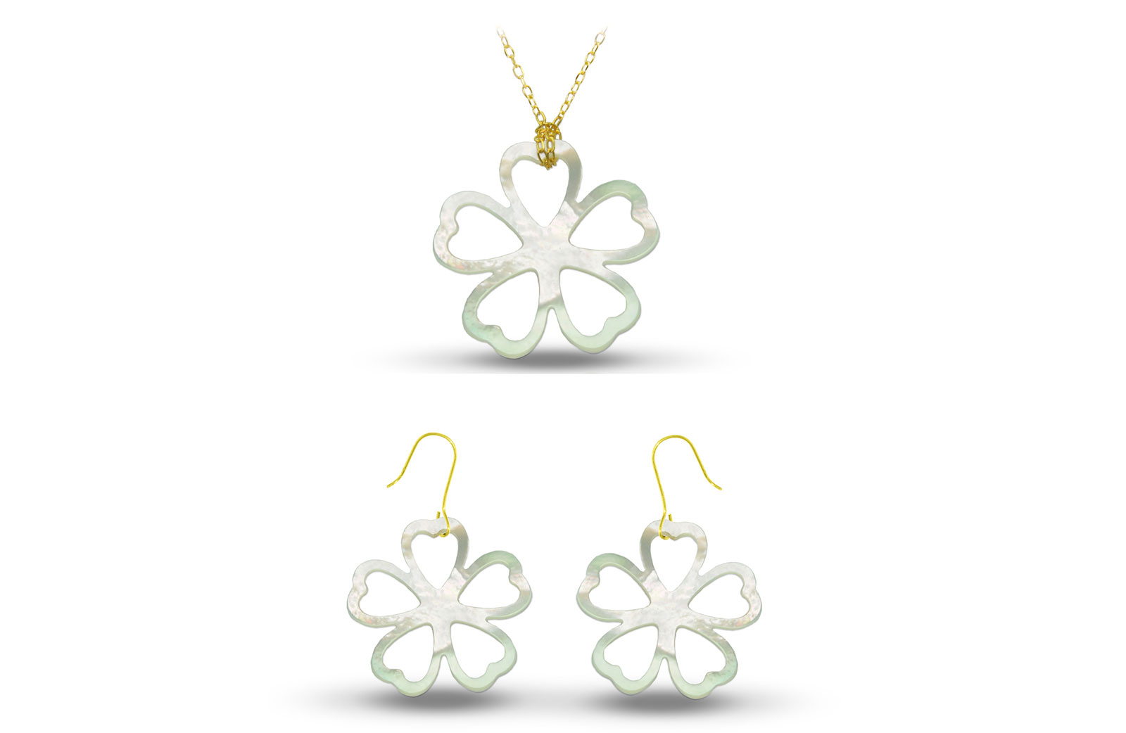 Vera Perla 18K Gold Lucky Clover Mother of Pearl Jewelry Set, 2 pcs