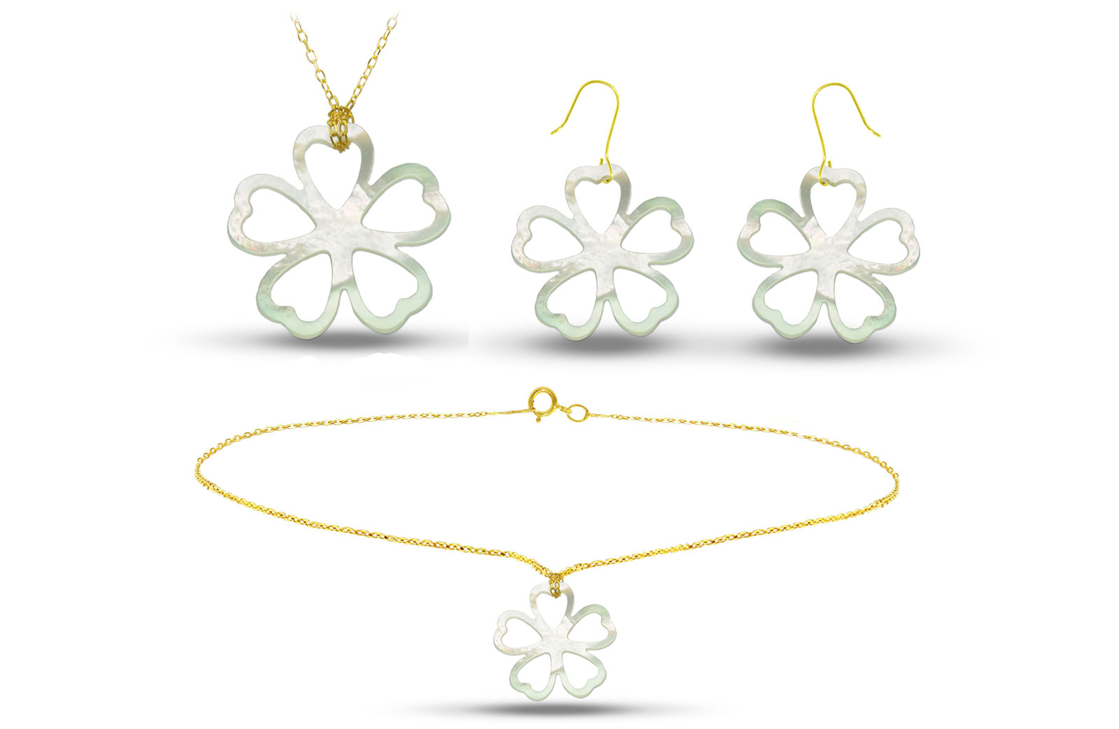 Vera Perla 18K Gold Lucky Clover Mother of Pearl Jewelry Set, 3 pcs