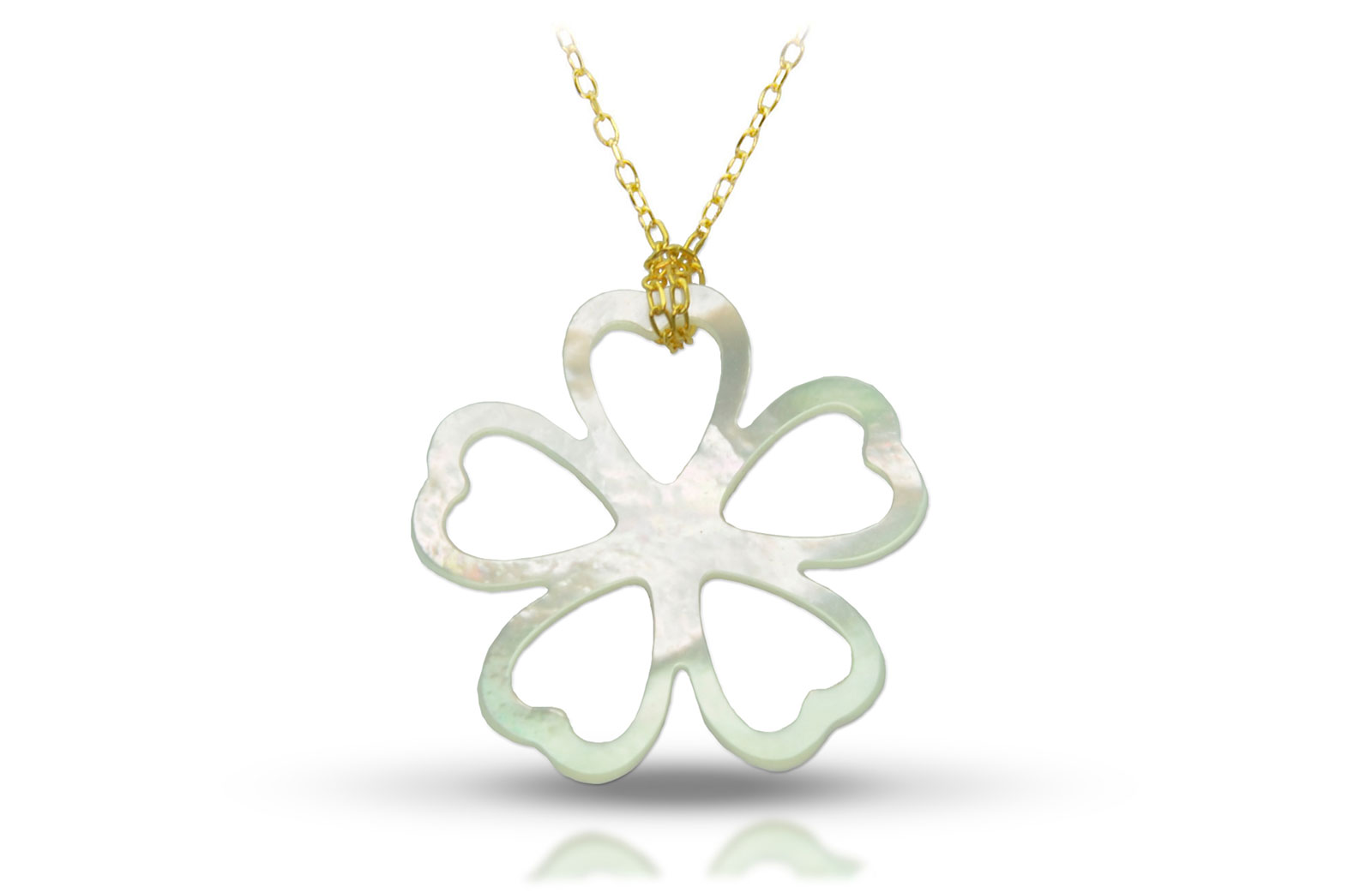 Vera Perla 18K Gold Lucky Clover Mother of Pearl Necklace