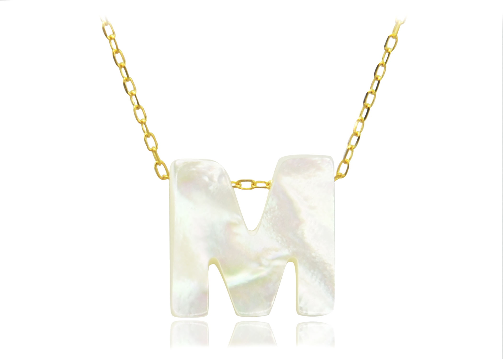 Vera Perla 18K Gold M Letter  Mother of Pearl Necklace