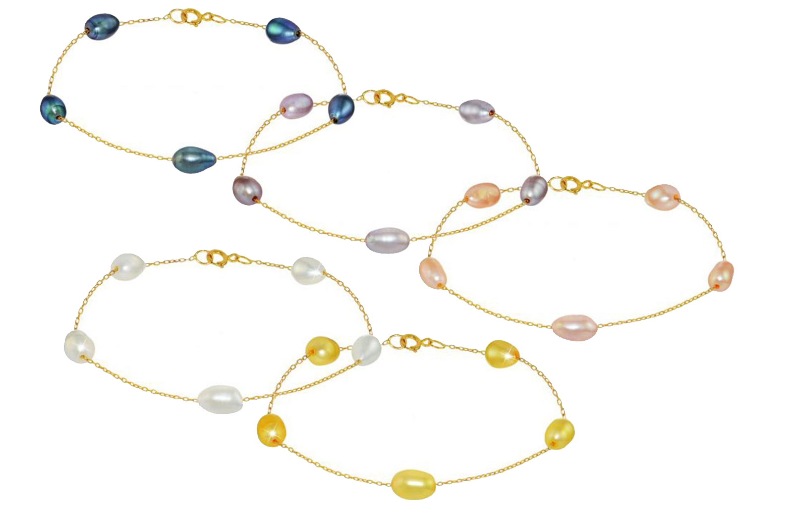 Vera Perla 18K Gold Multi Color Pearl Bracelet - 5 pcs.