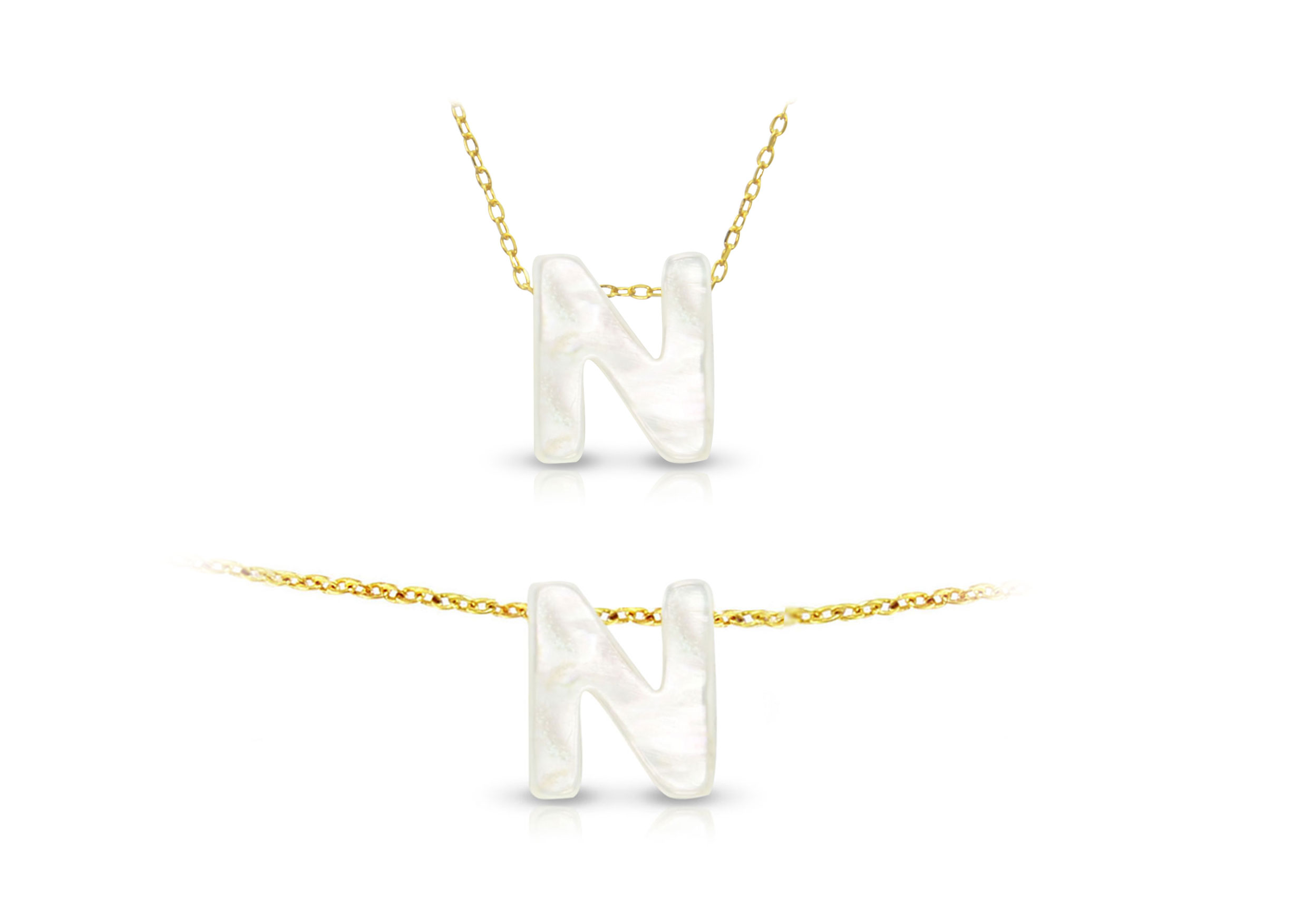 Vera Perla 18K Gold N Letter  Mother of Pearl Jewelry Set
