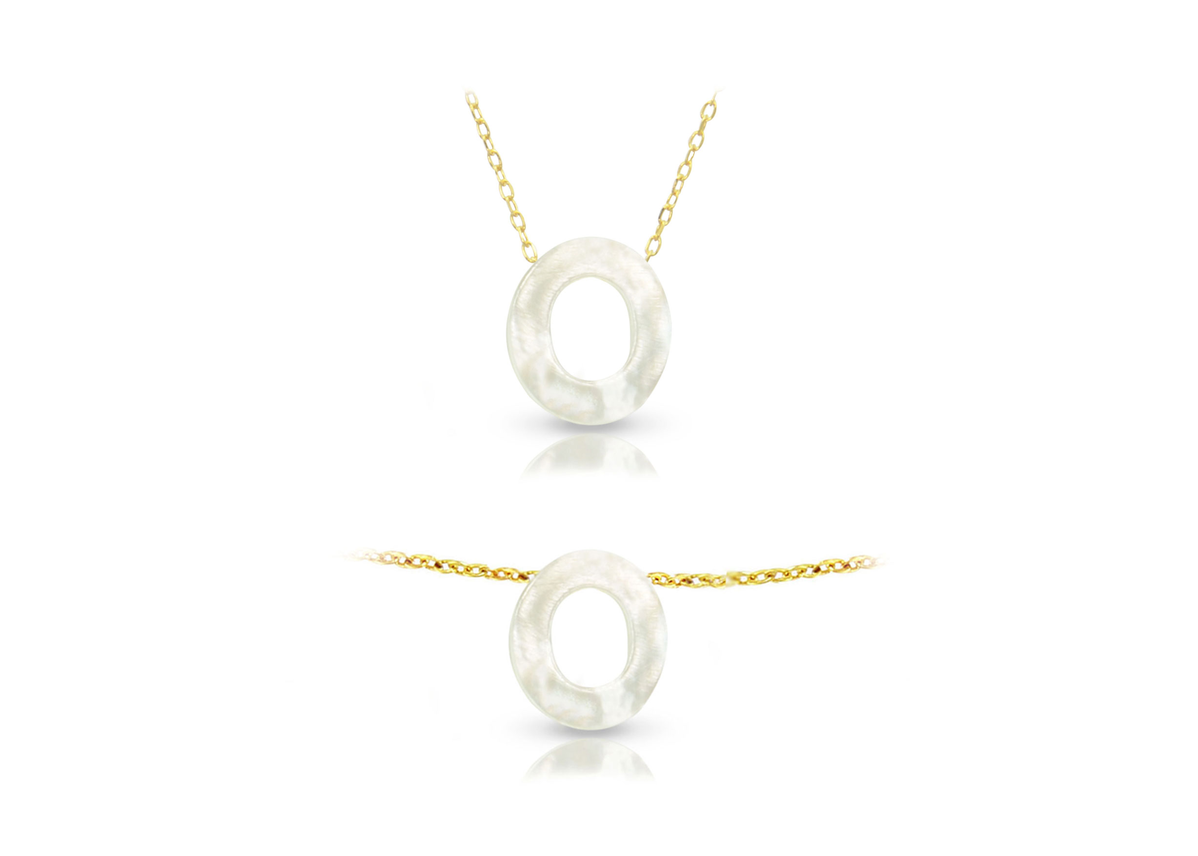 Vera Perla 18K Gold O Letter  Mother of Pearl Jewelry Set