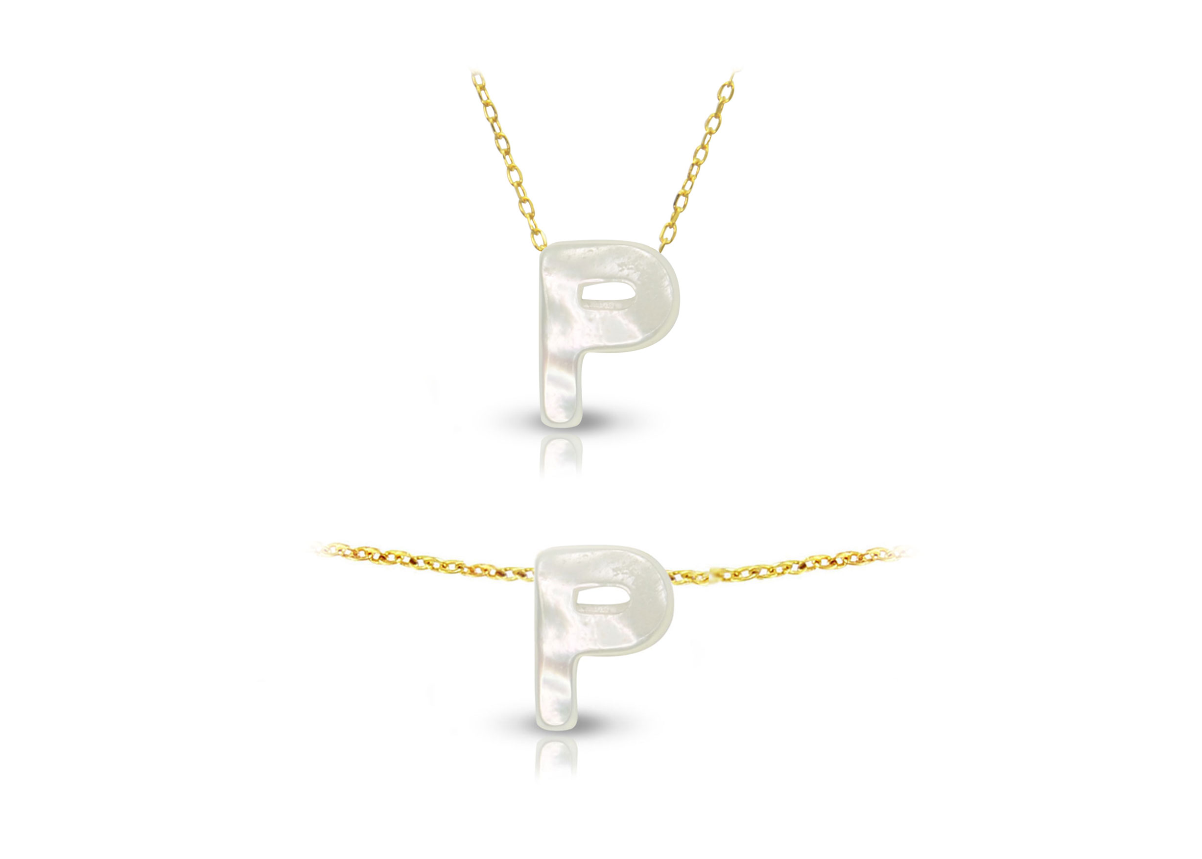 Vera Perla 18K Gold P Letter  Mother of Pearl Jewelry Set