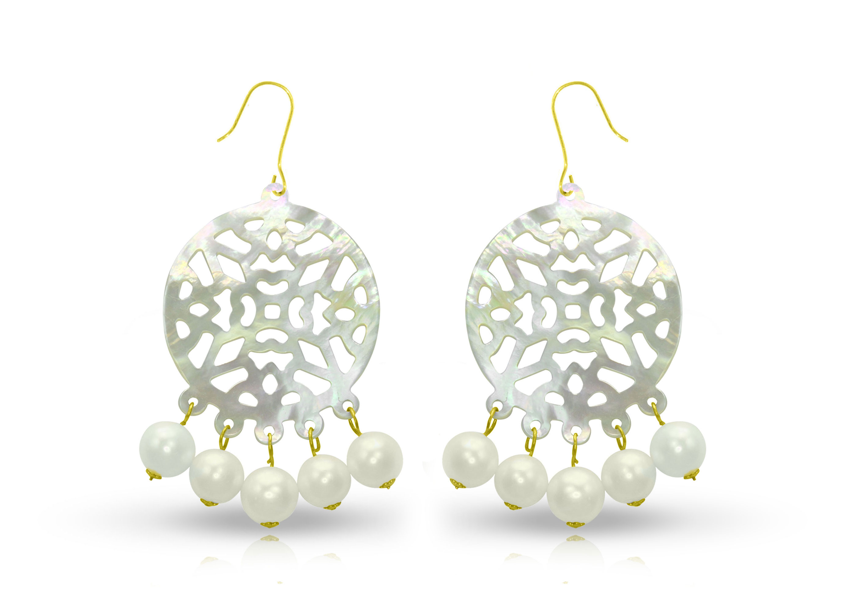 Vera Perla 18K Gold Pearls and Mother of Pearl Chandelier Earrings