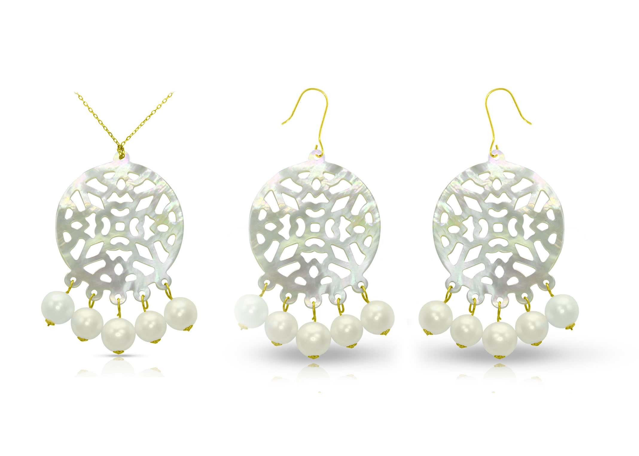 Vera Perla 18K Gold Pearls and Mother of Pearl Chandelier Jewelry Set