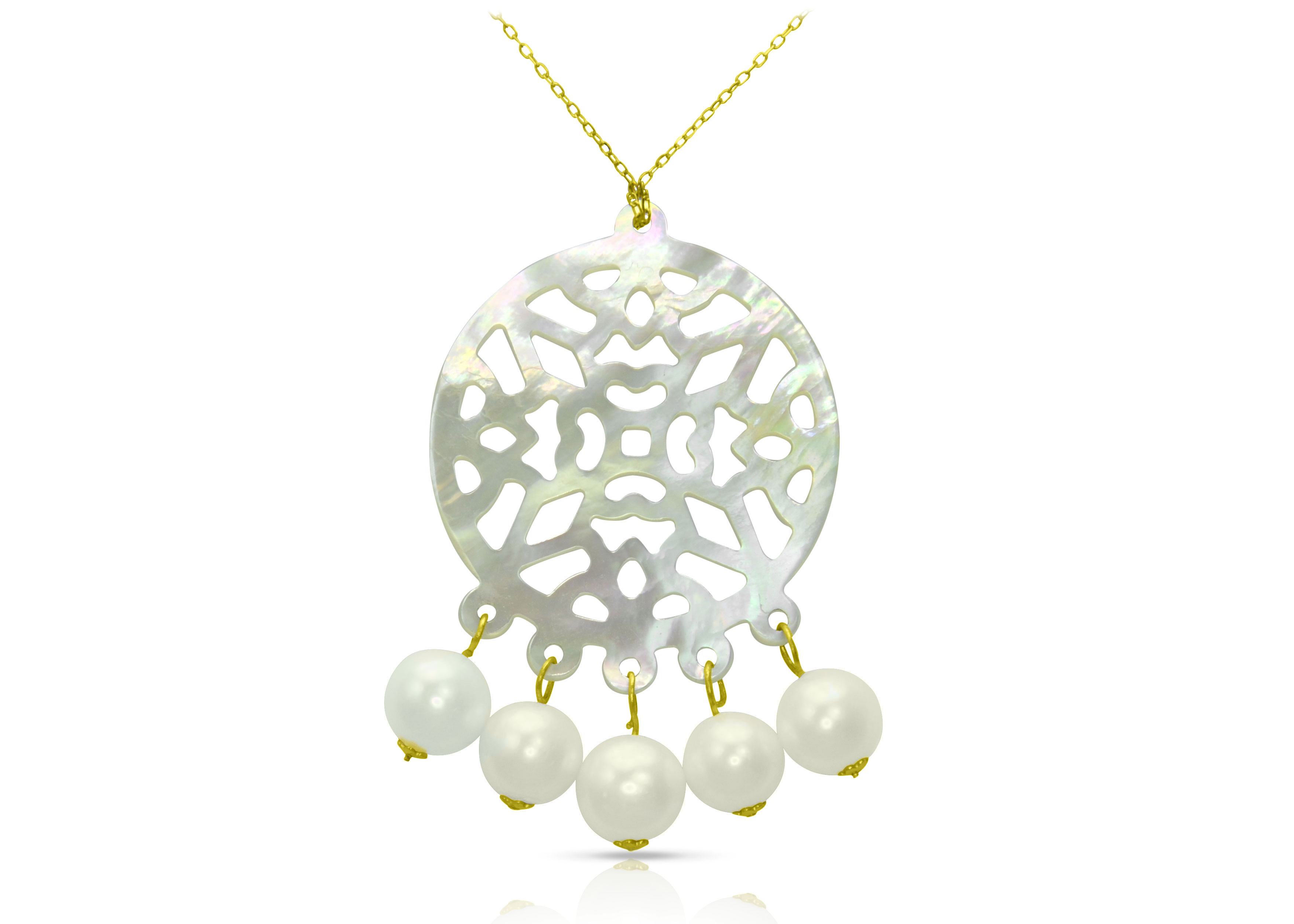 Vera Perla 18K Gold Pearls and Mother of Pearl Chandelier Necklace