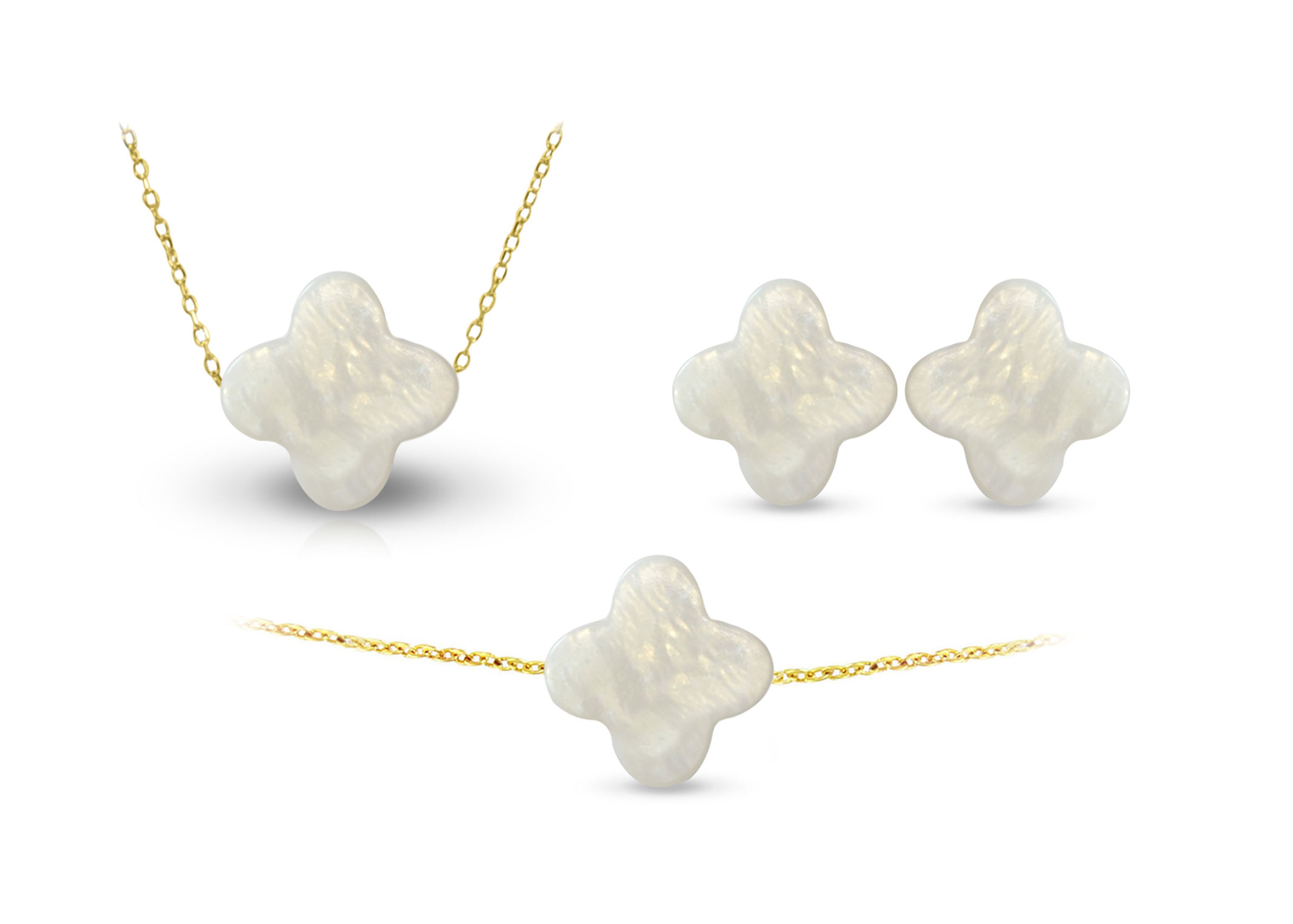 Vera Perla 18K Gold Plum Flower Shape Mother of Pearl Jewelry 3 pcs