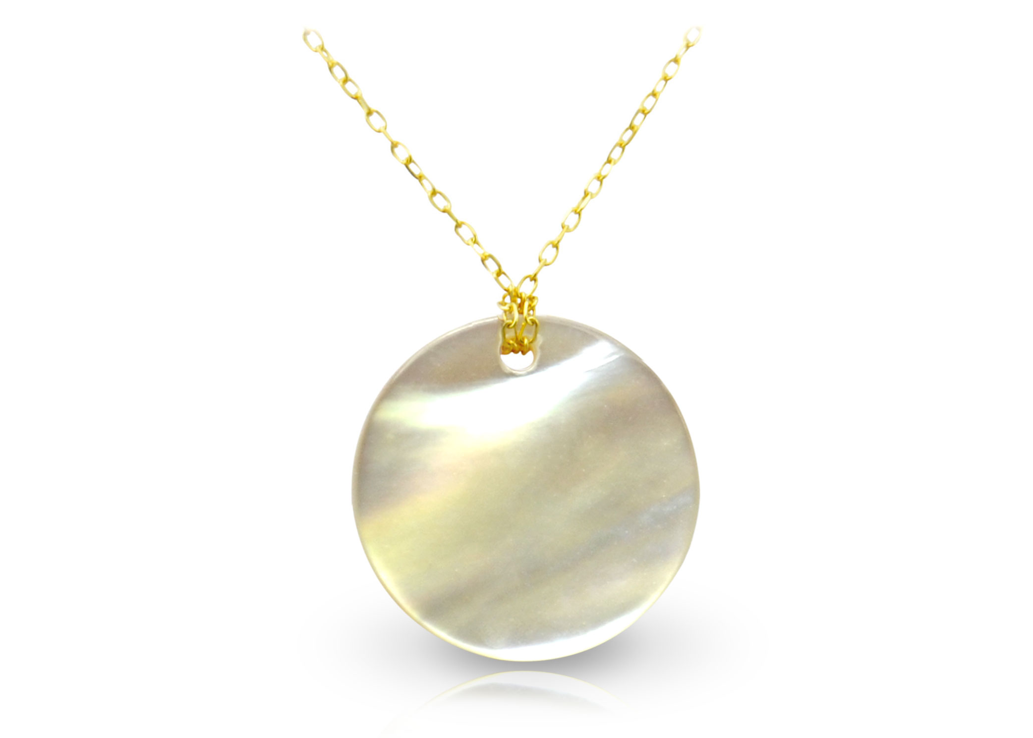 Vera Perla 18K Gold Purple Coin Mother of Pearl Necklace
