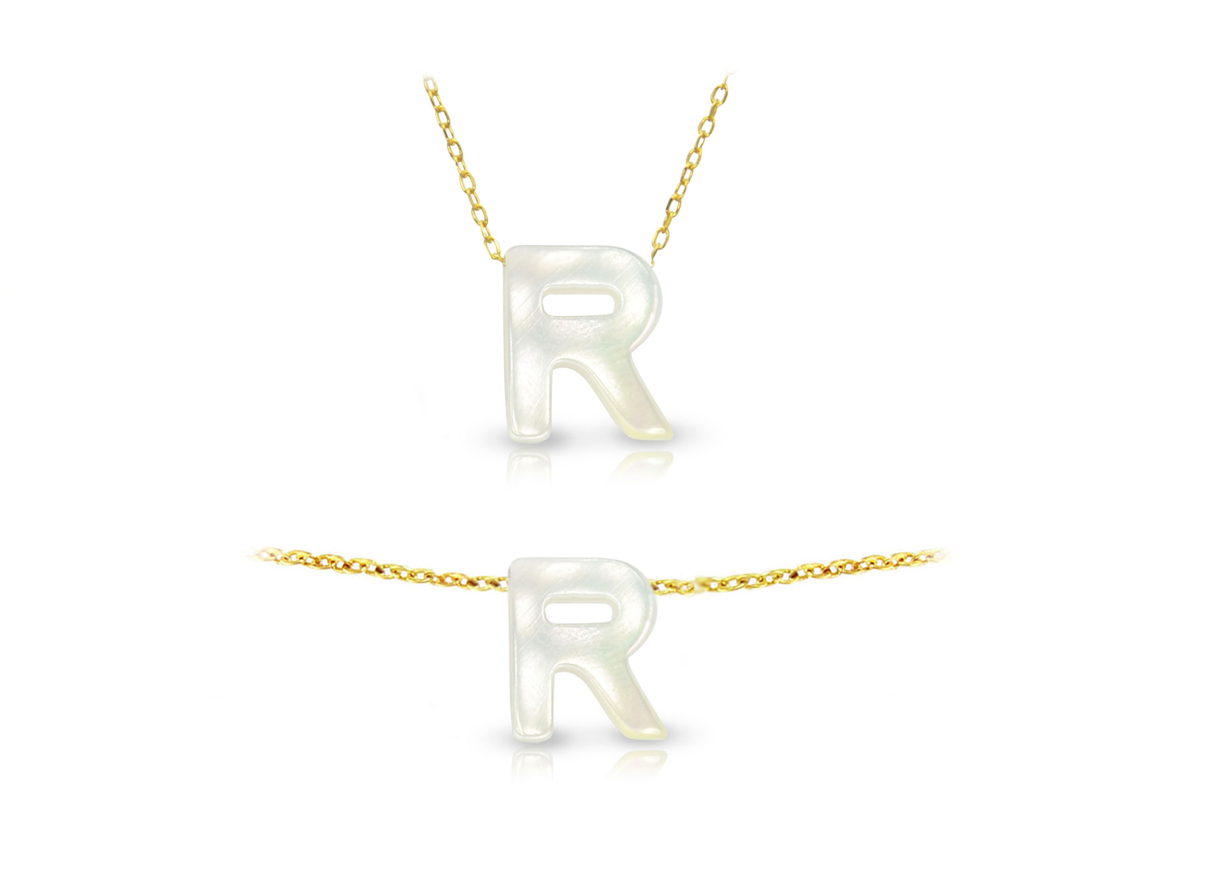 Vera Perla 18K Gold R Letter  Mother of Pearl Jewelry Set